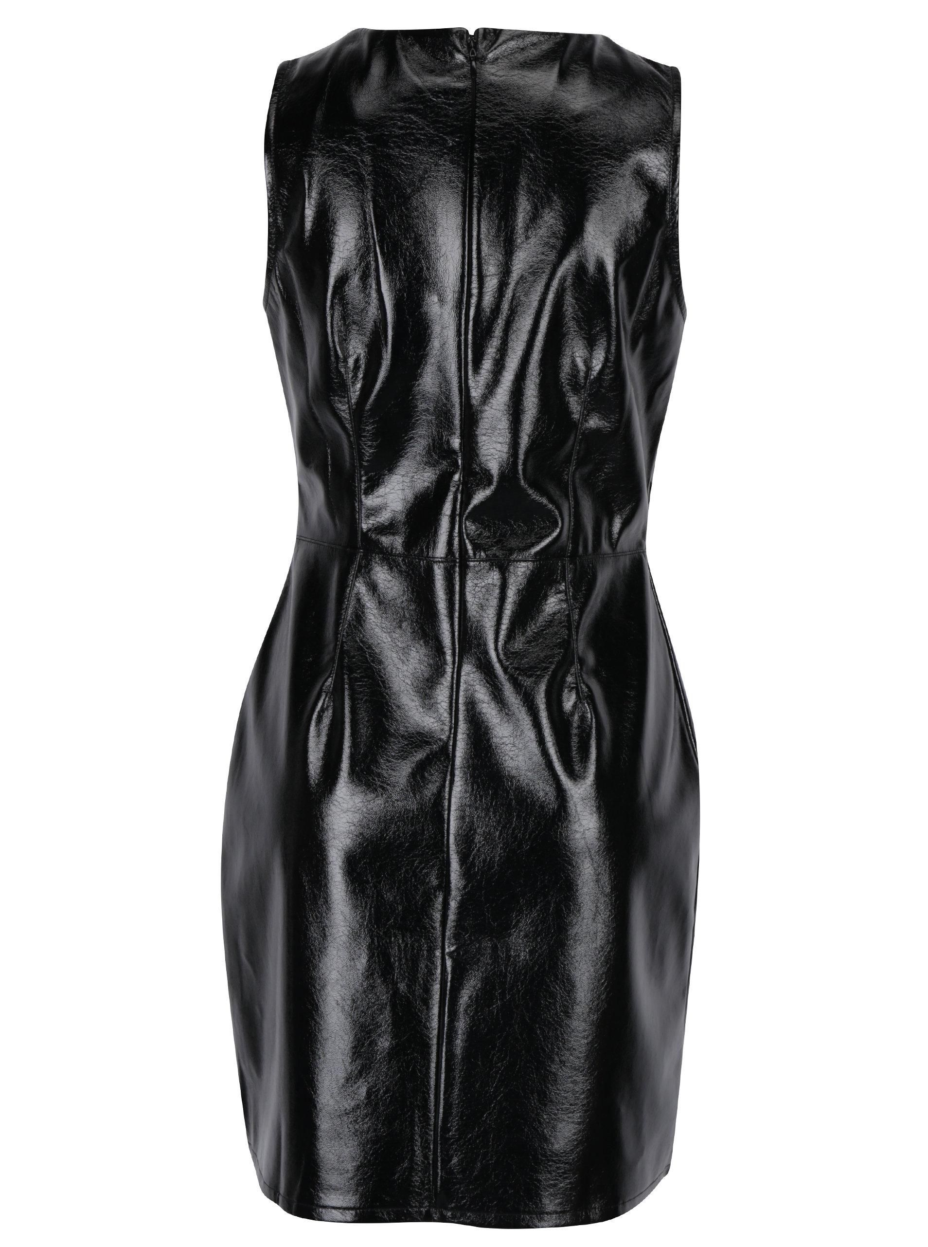 c7f6a9cf31ad Čierne lesklé koženkové šaty bez rukávov Miss Selfridge ...