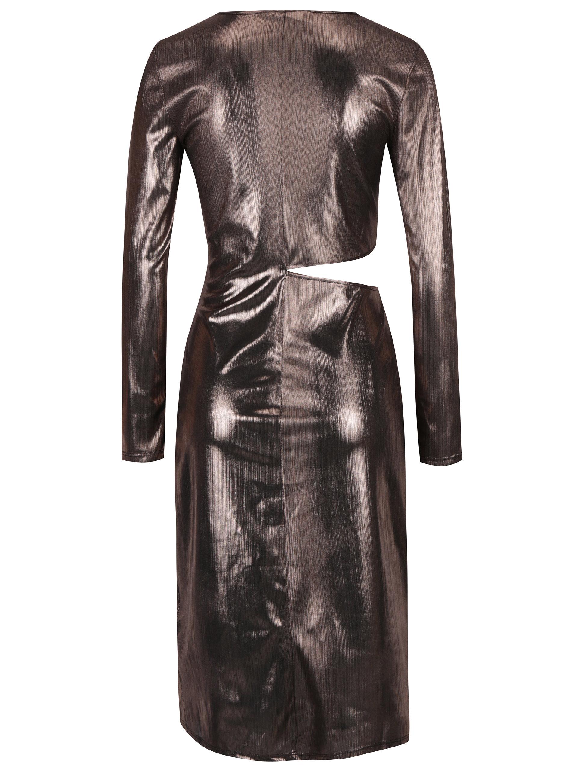 86e06677216d Ružové metalické šaty s prestrihom na boku Miss Selfridge ...