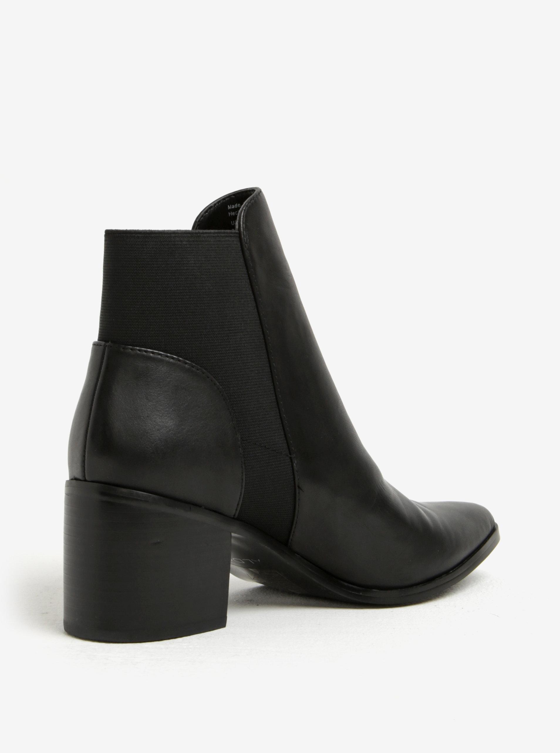 e9ef0b8976fe Čierne dámske kožené členkové topánky na podpätku ALDO Etiwiel ...