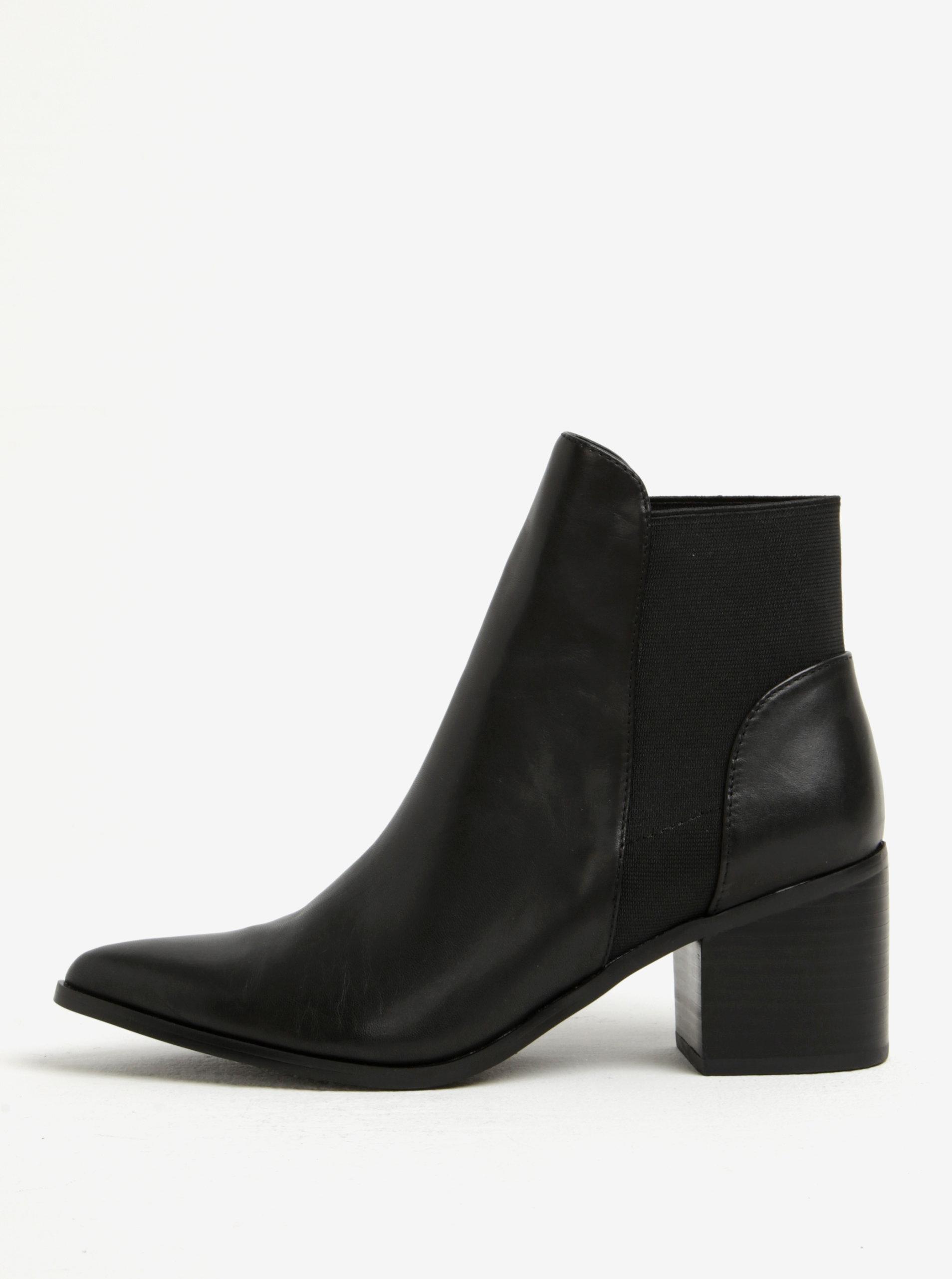 b2f53b78eb Čierne dámske kožené členkové topánky na podpätku ALDO Etiwiel ...