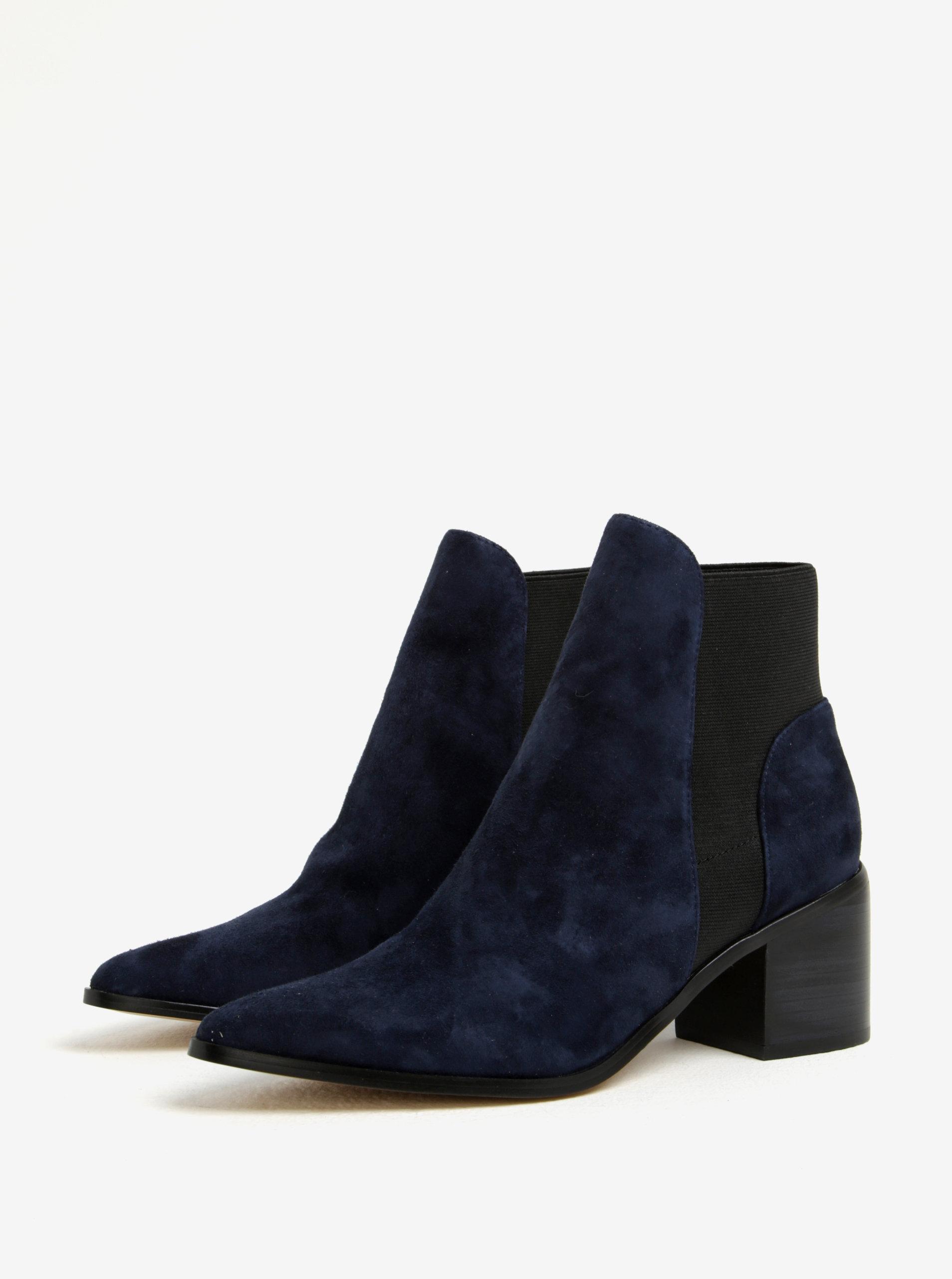 0b3d5abc0a5c Tmavomodré dámske semišové členkové topánky na podpätku ALDO Etiwiel ...