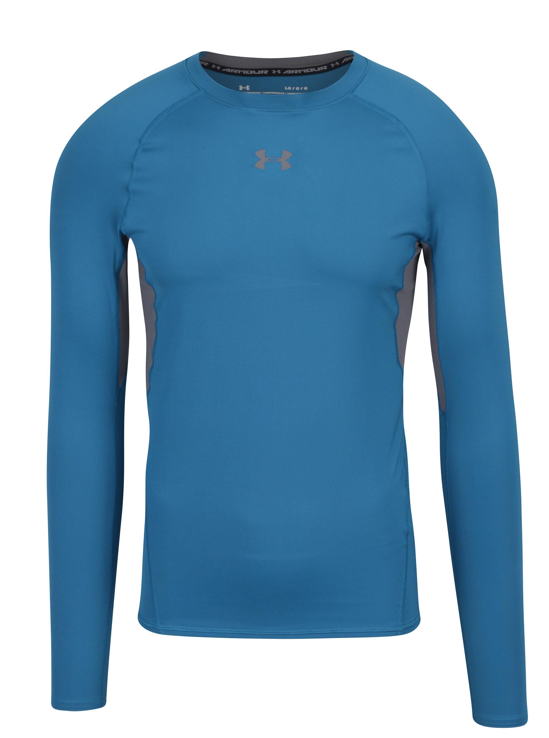 Sivo–modré pánske funkčné tričko s dlhým rukávom Under Armour ... 0b1e4a86fc9