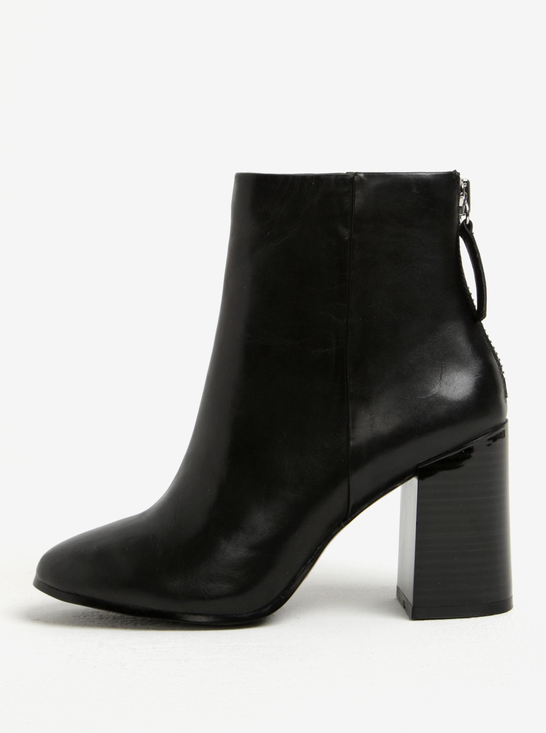 acc2b188c553 Černé dámské kožené kotníkové boty na podpatku ALDO Jola ...