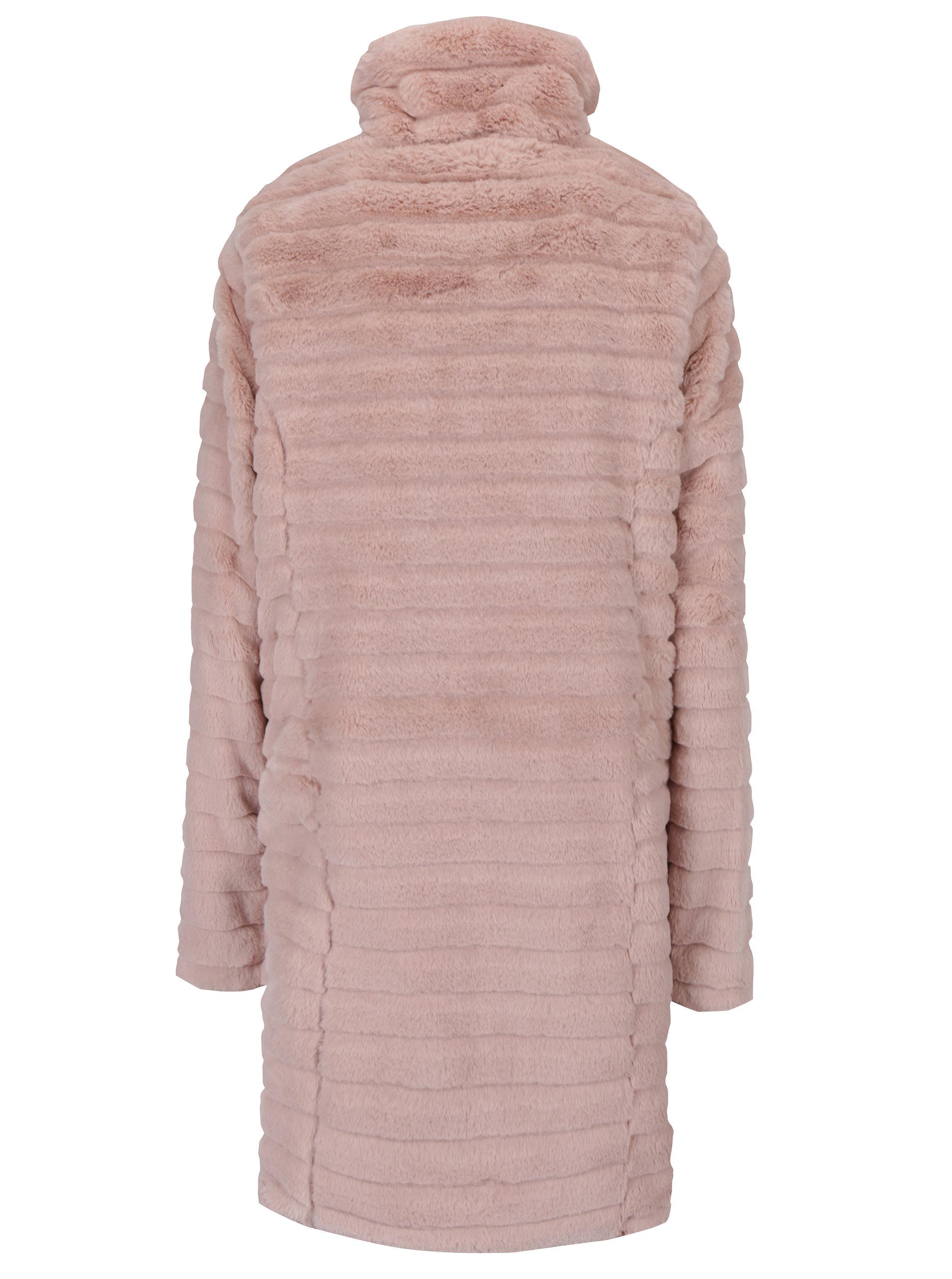 ef79cb8fab Svetloružový kabát s umelým kožúškom VILA Meria ...
