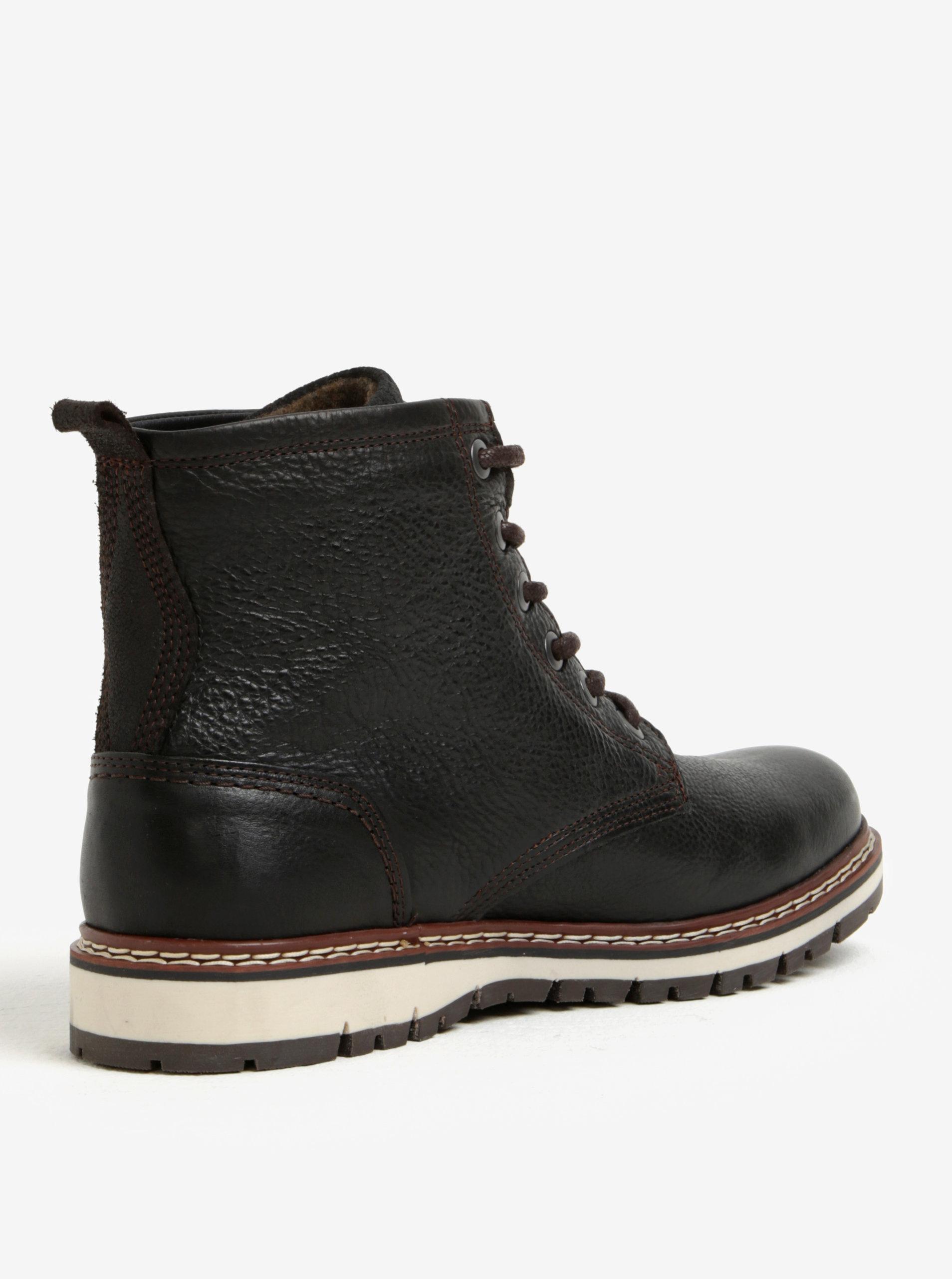 ea4d513e627 Tmavě hnědé pánské kožené kotníkové zimní boty Bullboxer ...