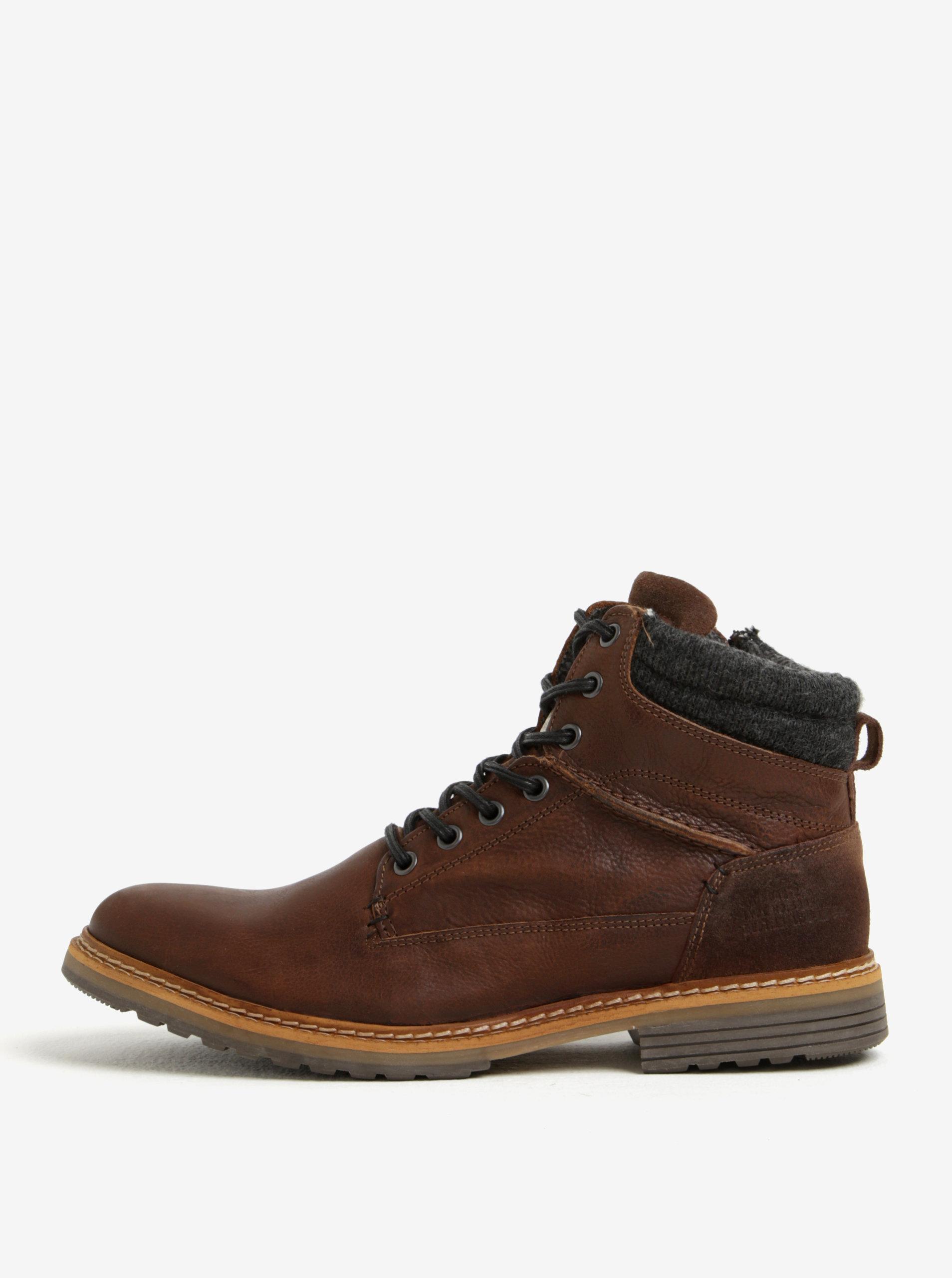 Hnedé pánske kožené členkové zimné topánky na zips Bullboxer ... e9db3fac4c2