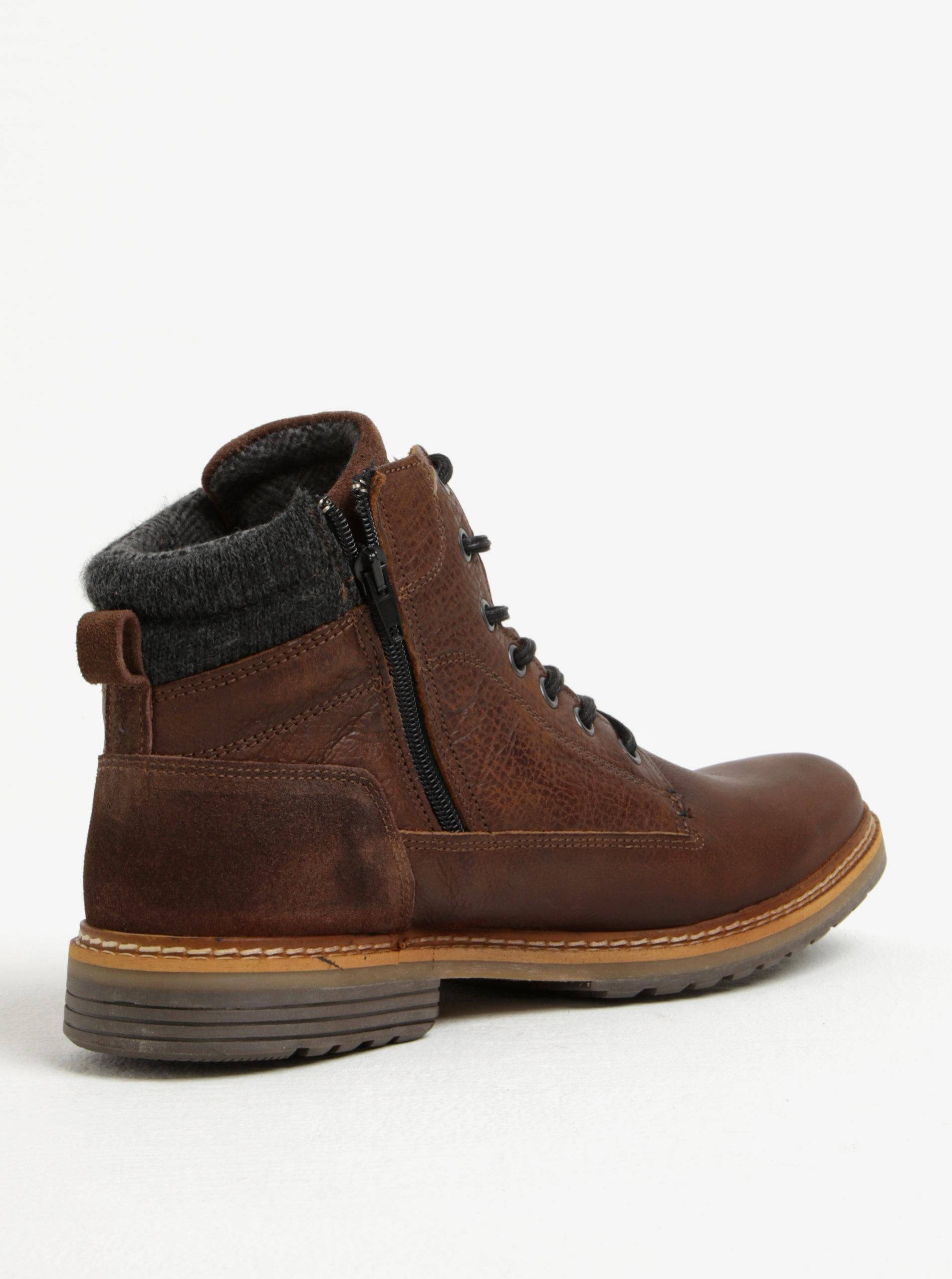 c2398d141d8 Hnědé pánské kožené kotníkové zimní boty na zip Bullboxer ...
