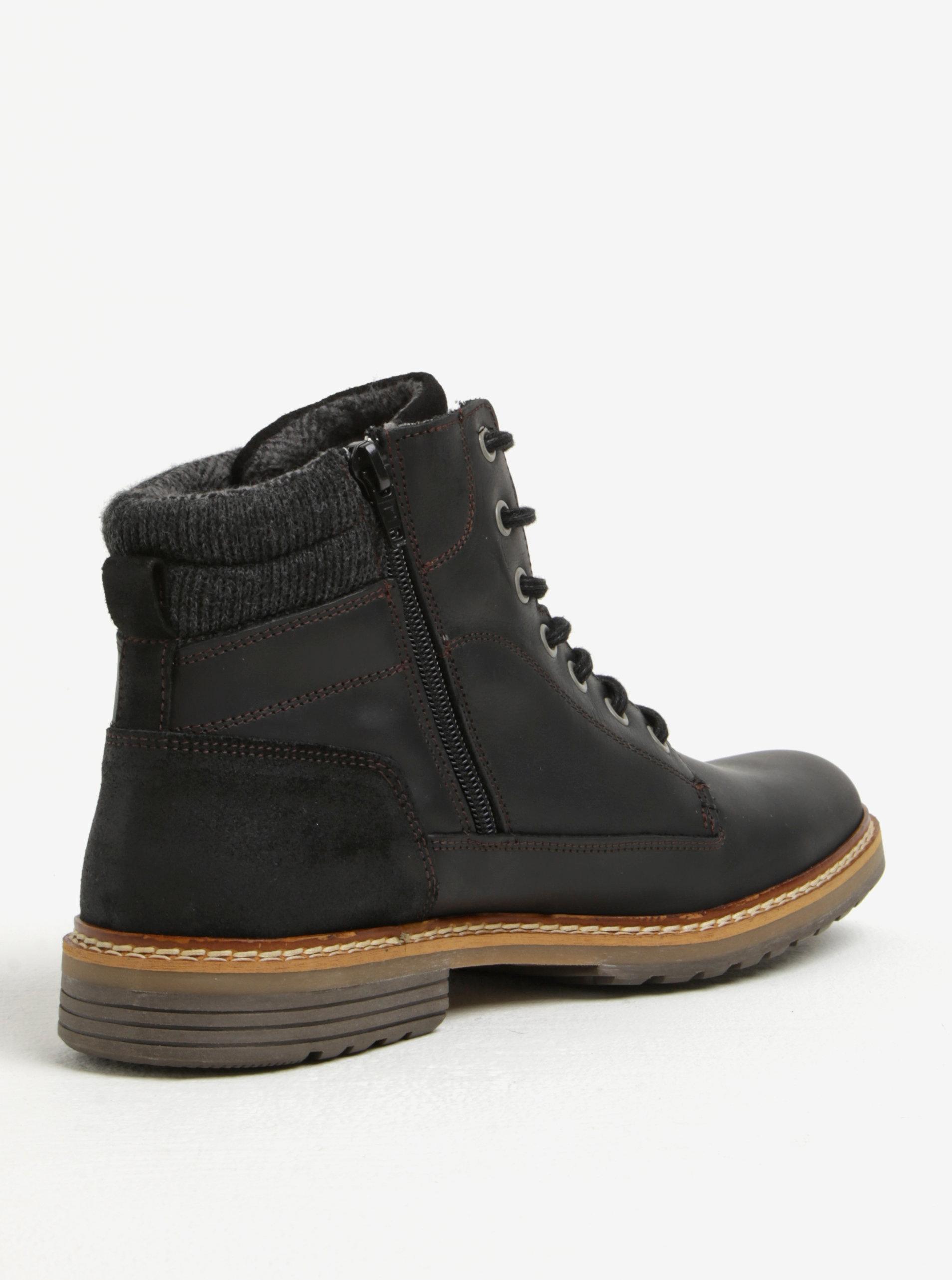 Čierne pánske kožené členkové zimné topánky na zips Bullboxer ... bc2750cffe0