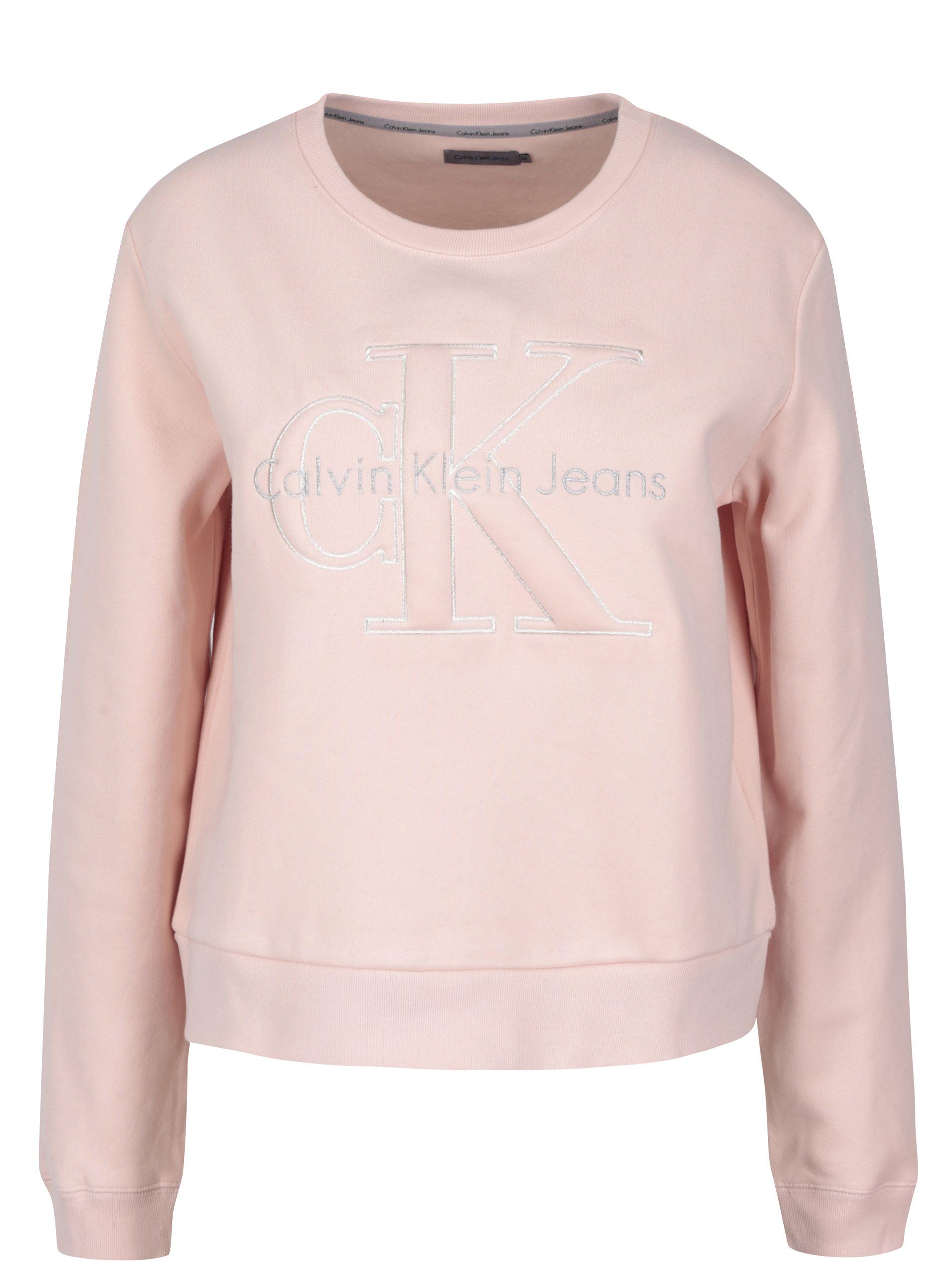 2e17c415a72 Světle růžová dámská mikina s výšivkou Calvin Klein Jeans Harper ...