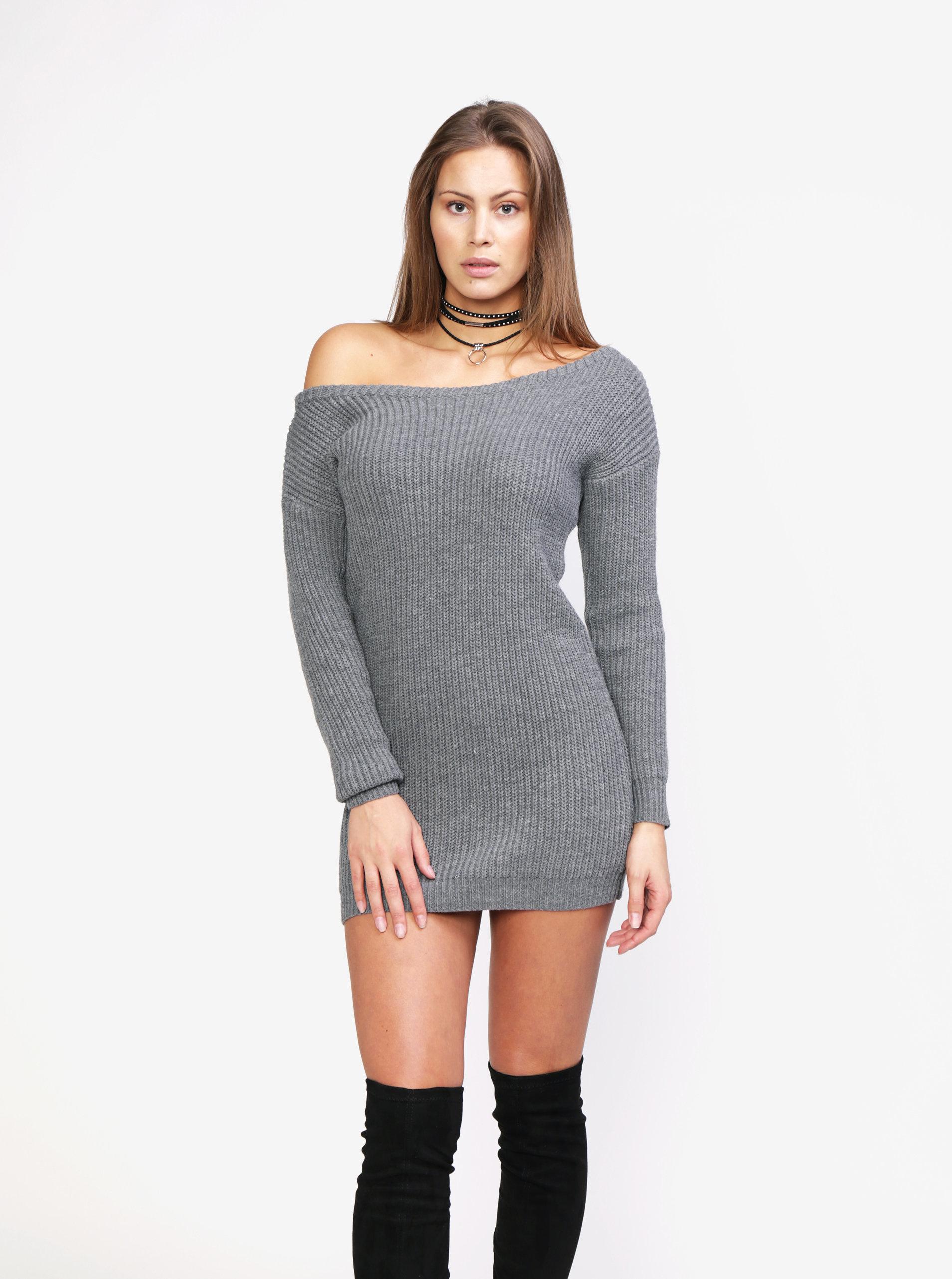 661d278e967e Sivé svetrové šaty s odhaleným ramenom MISSGUIDED ...