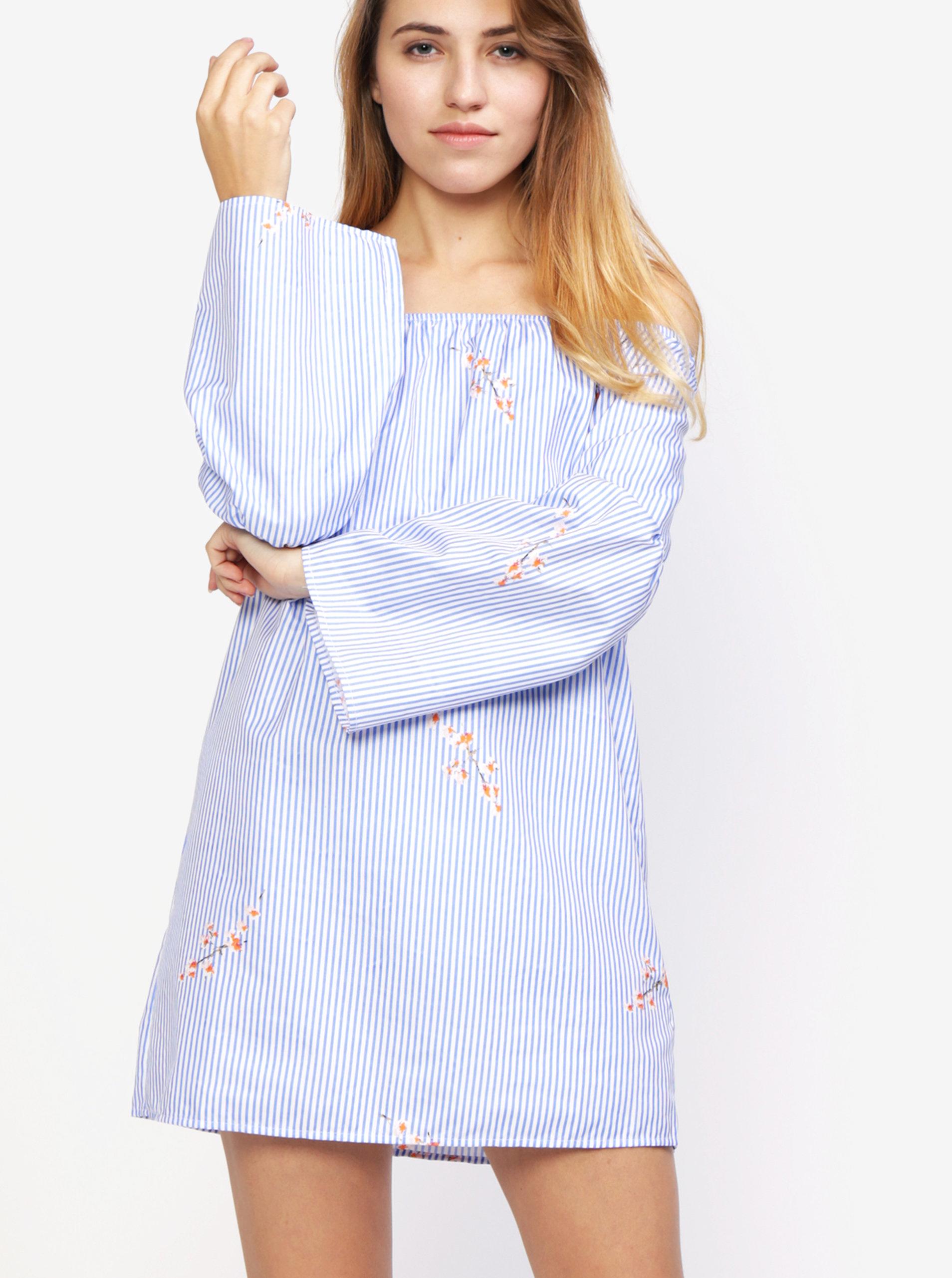 fe7123cfb7ef Modro-biele pruhované šaty s odhalenými ramenami MISSGUIDED ...