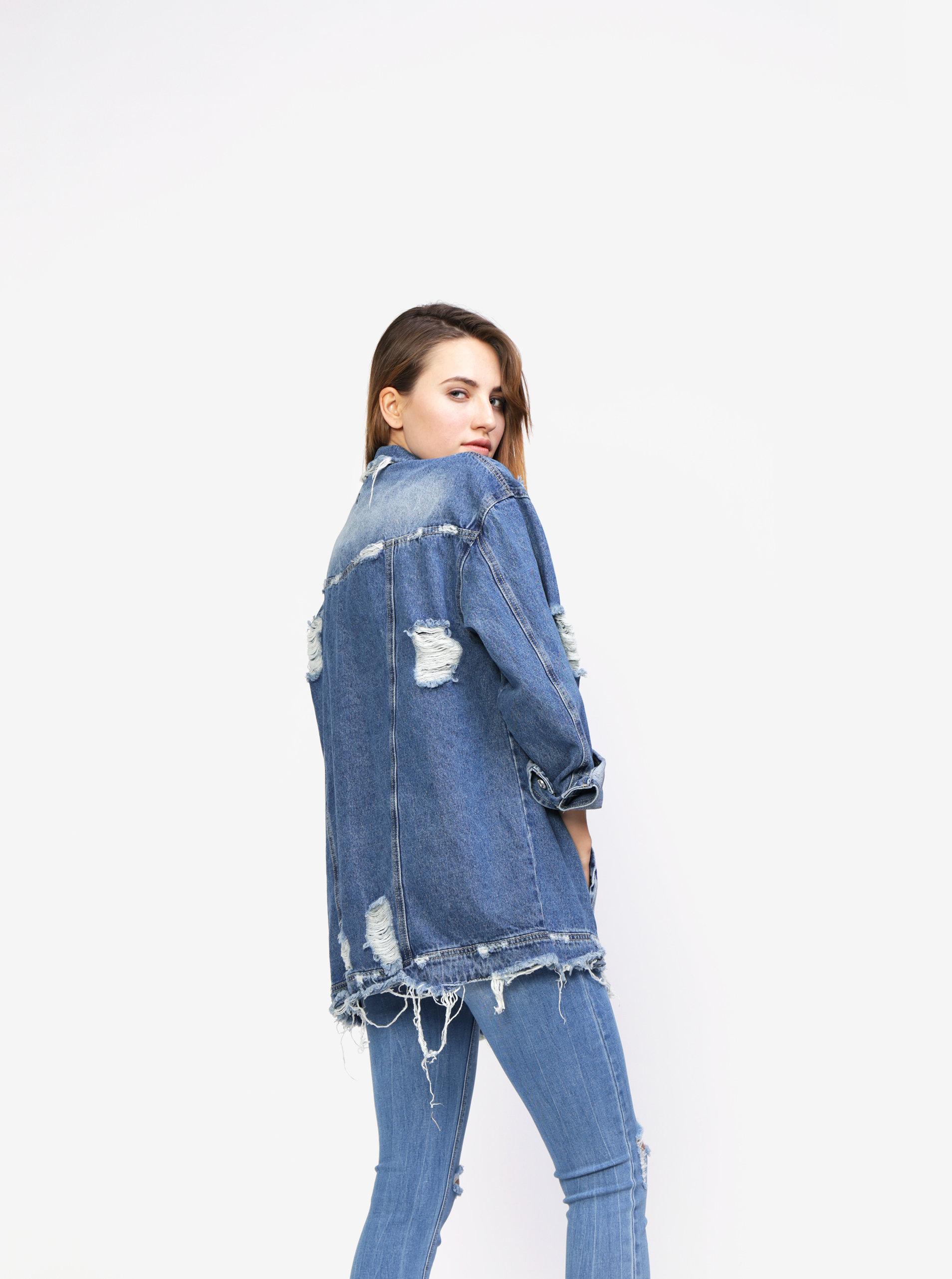 53787753f914 Modrá oversize rifľová bunda s potrhaným efektom MISSGUIDED ...