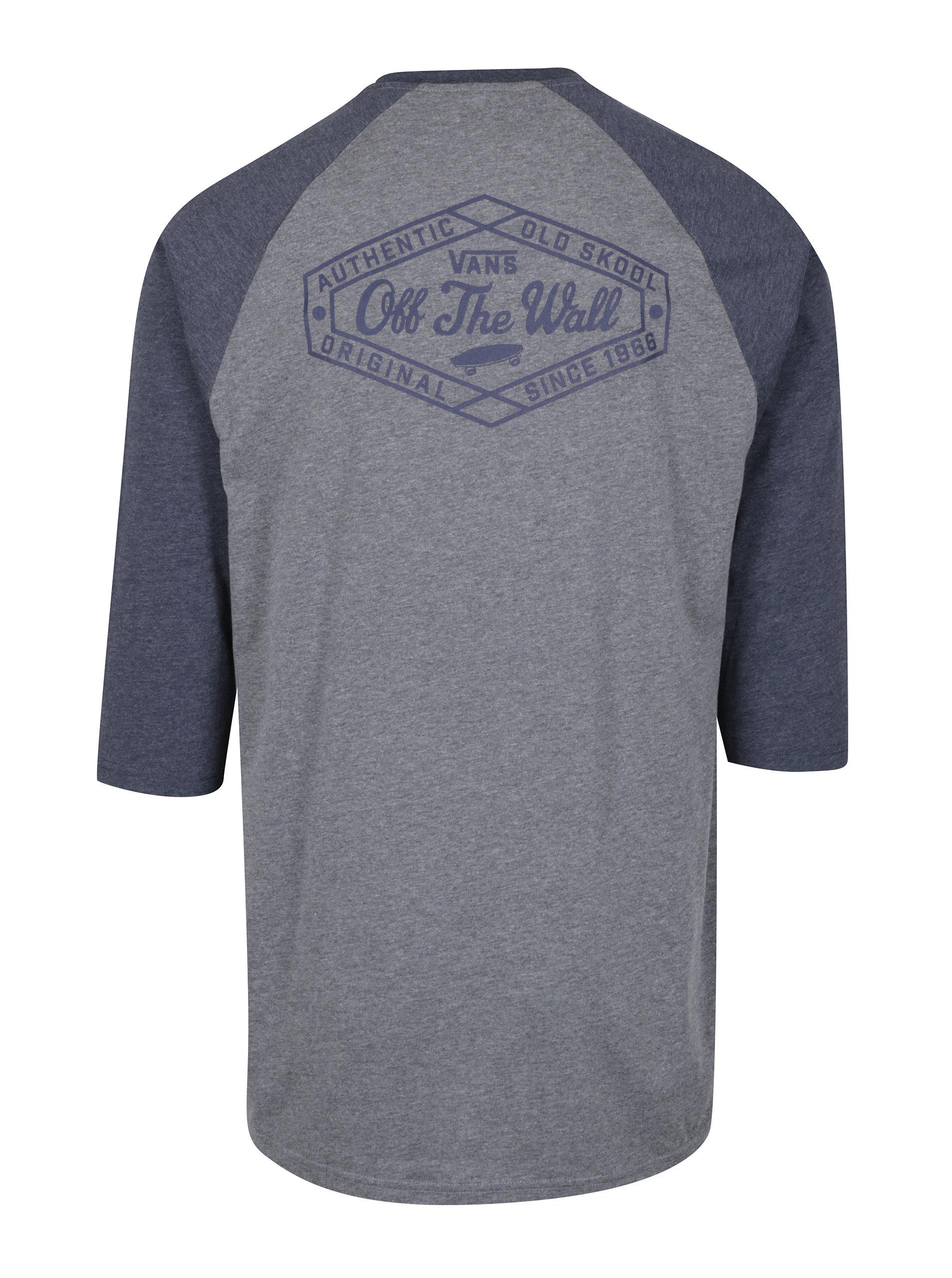 Šedé pánské custom fit tričko s potiskem na zádech VANS Original Lock ... 57ba4402ddb