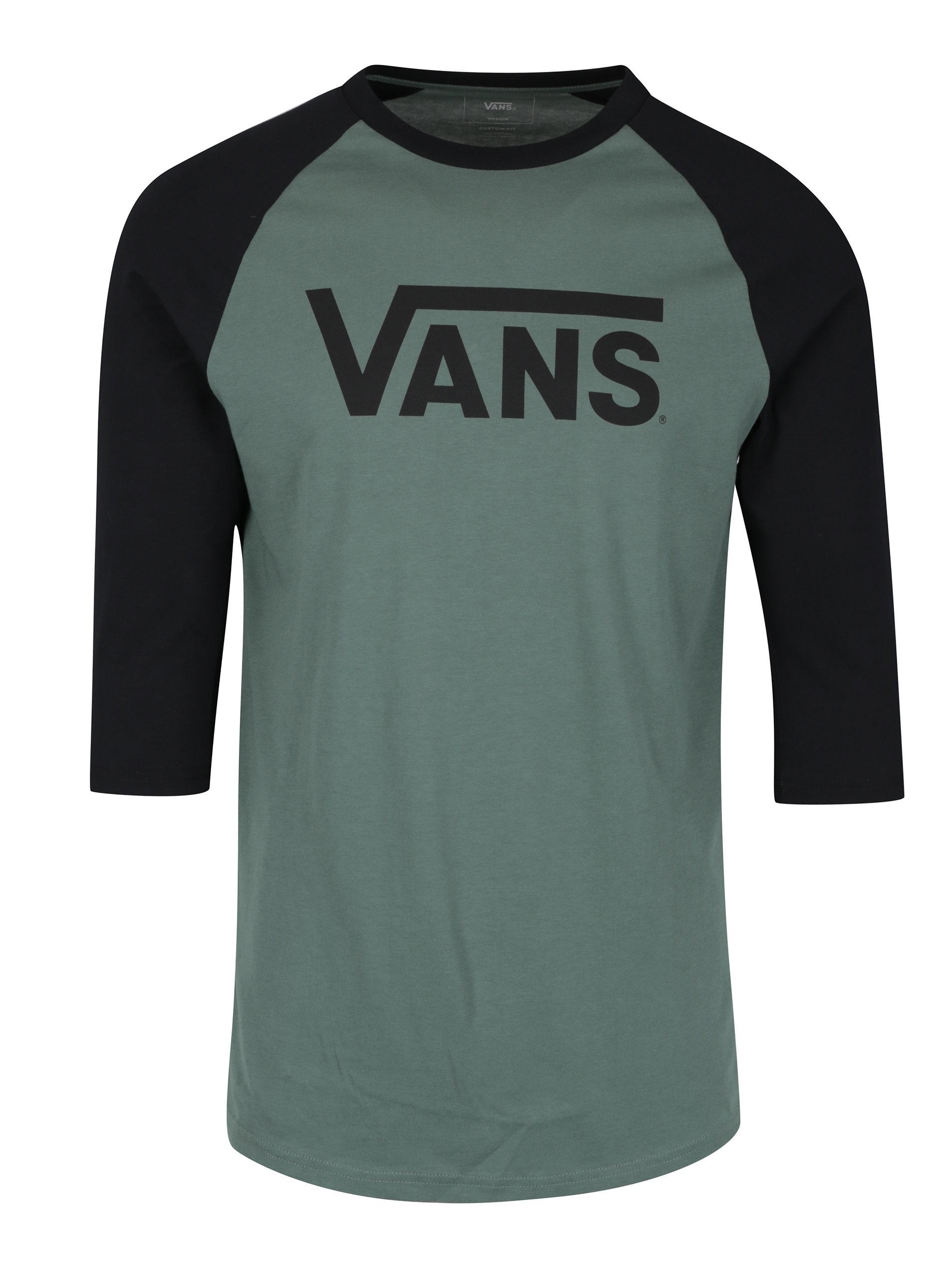 4ef1c70c4faa Černo-zelené pánské custom fit tričko s potiskem VANS Classic ...