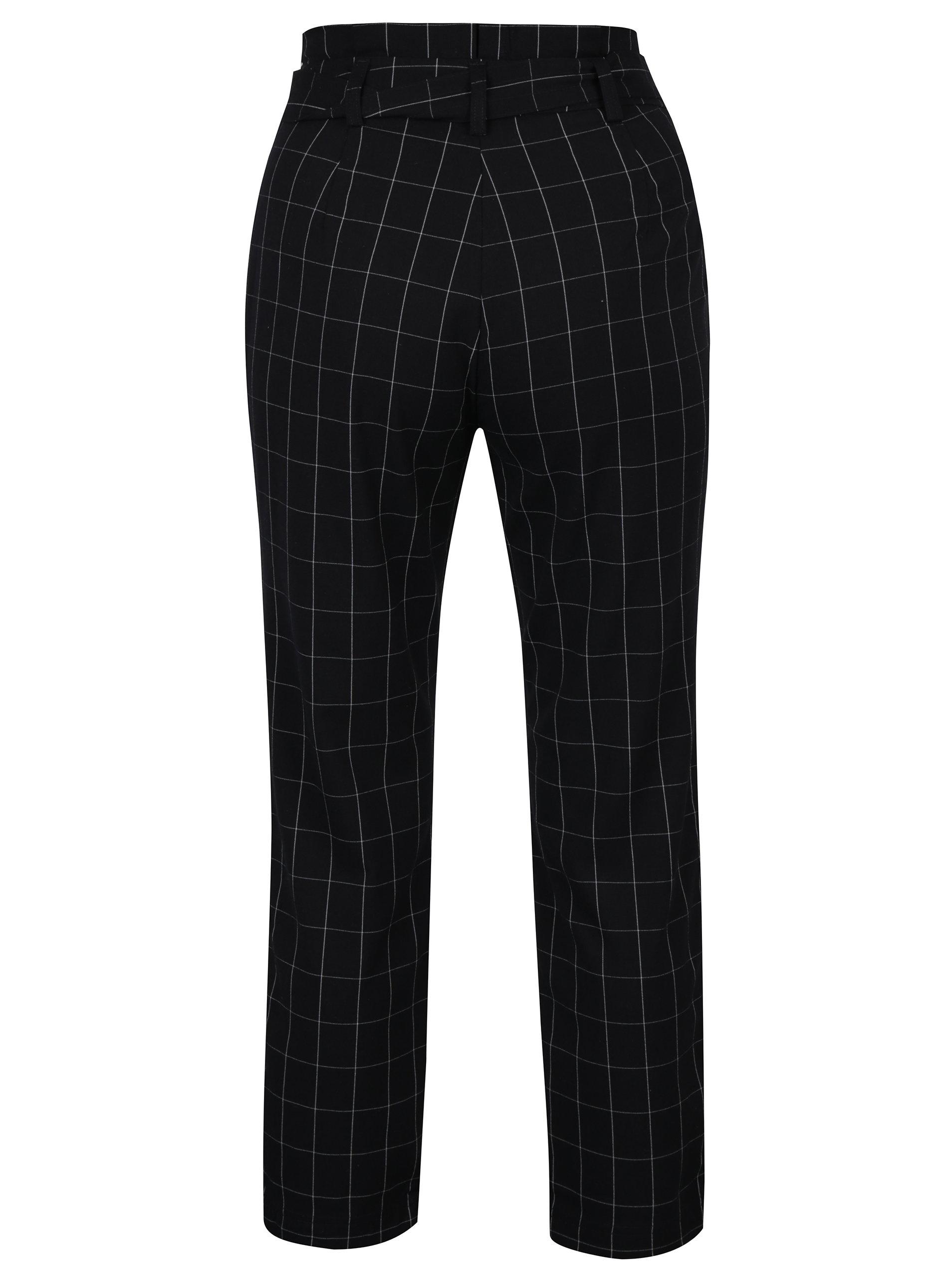 afc07e816ee Černé kostkované kalhoty s páskem TALLY WEiJL ...