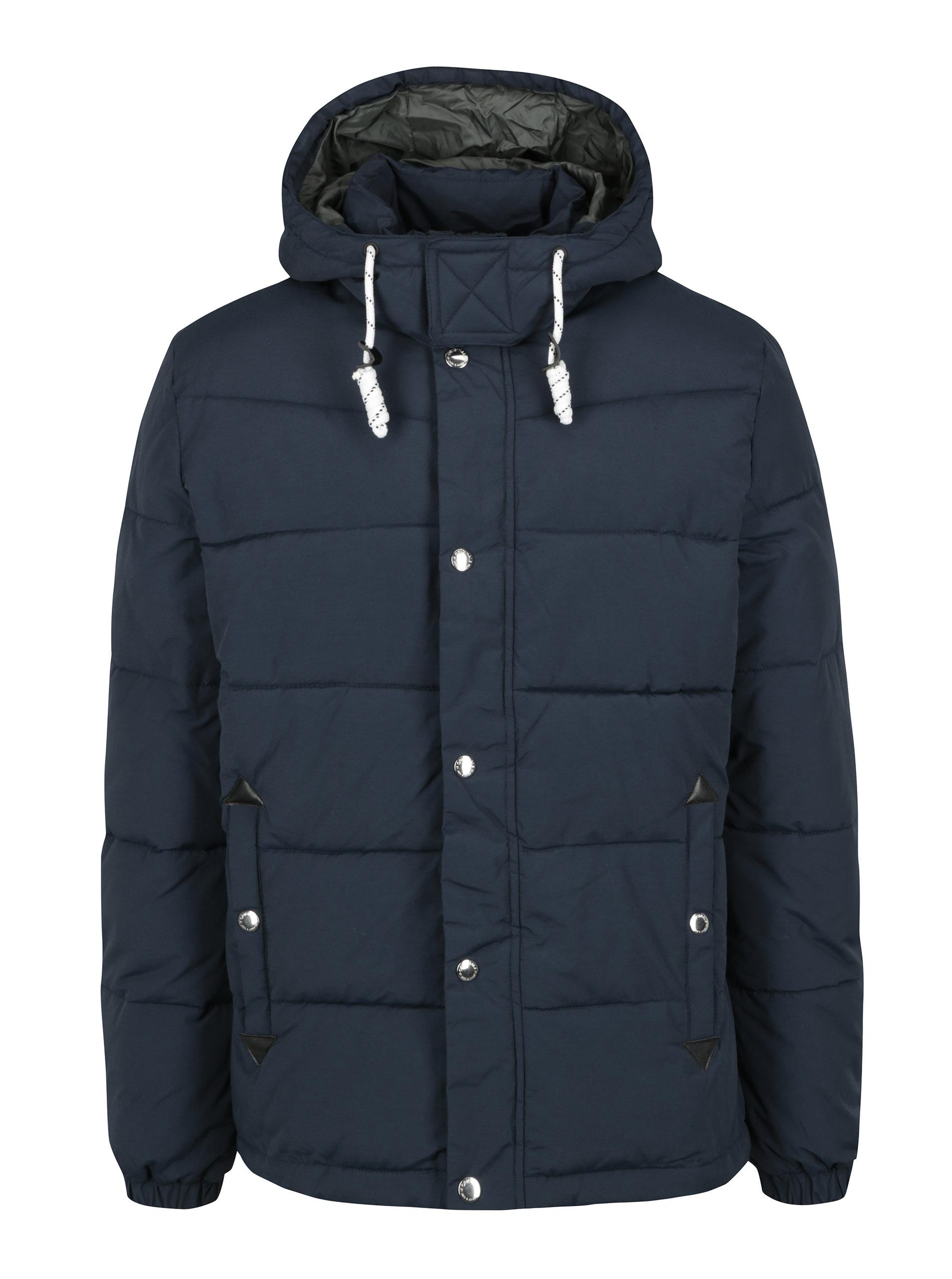 Tmavě modrá zimní prošívaná bunda s kapucí Jack   Jones Figure ... cea39719275