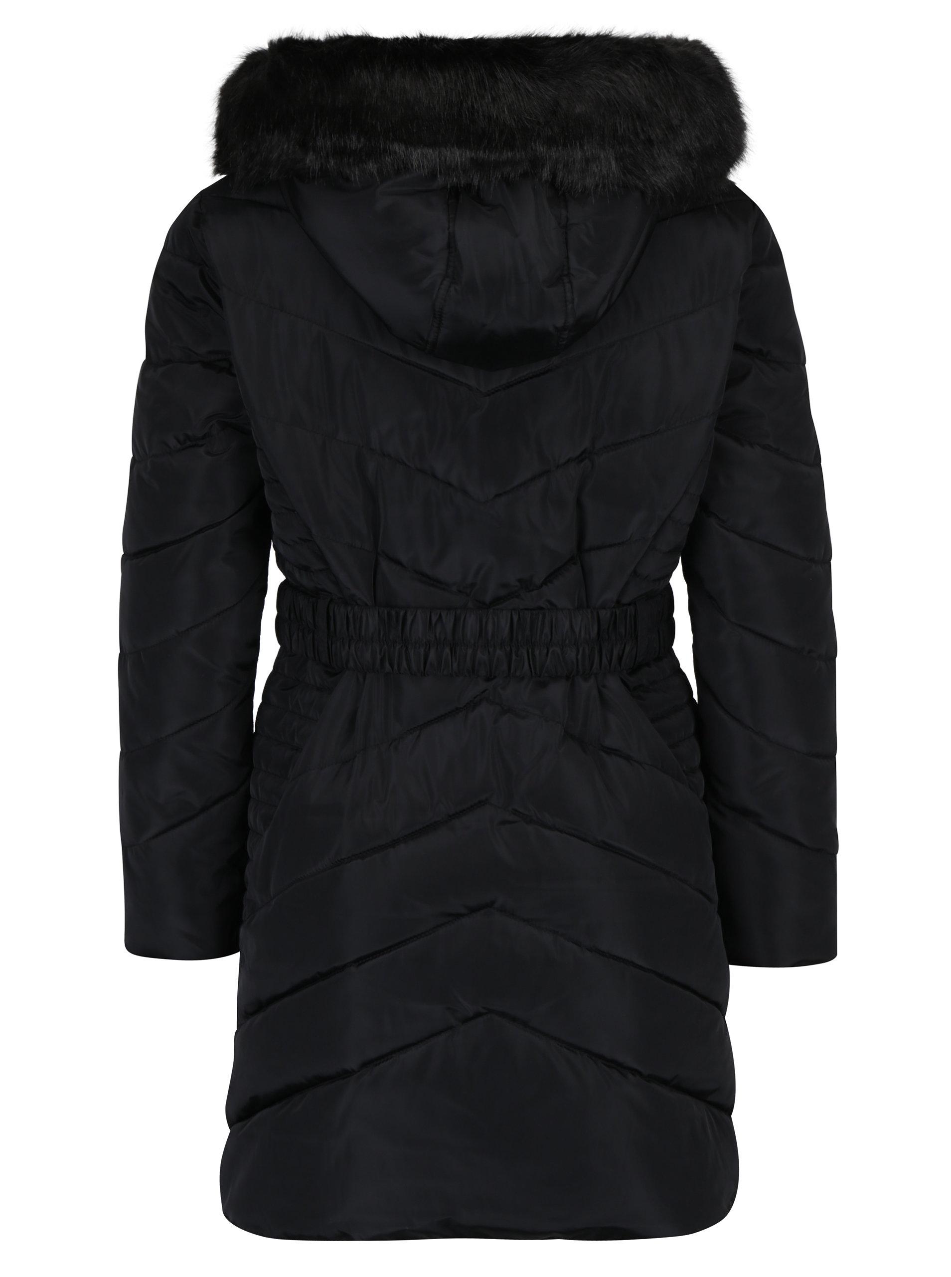 86b2b30bf Čierny prešívaný zimný kabát s umelou kožušinou Dorothy Perkins Petite ...