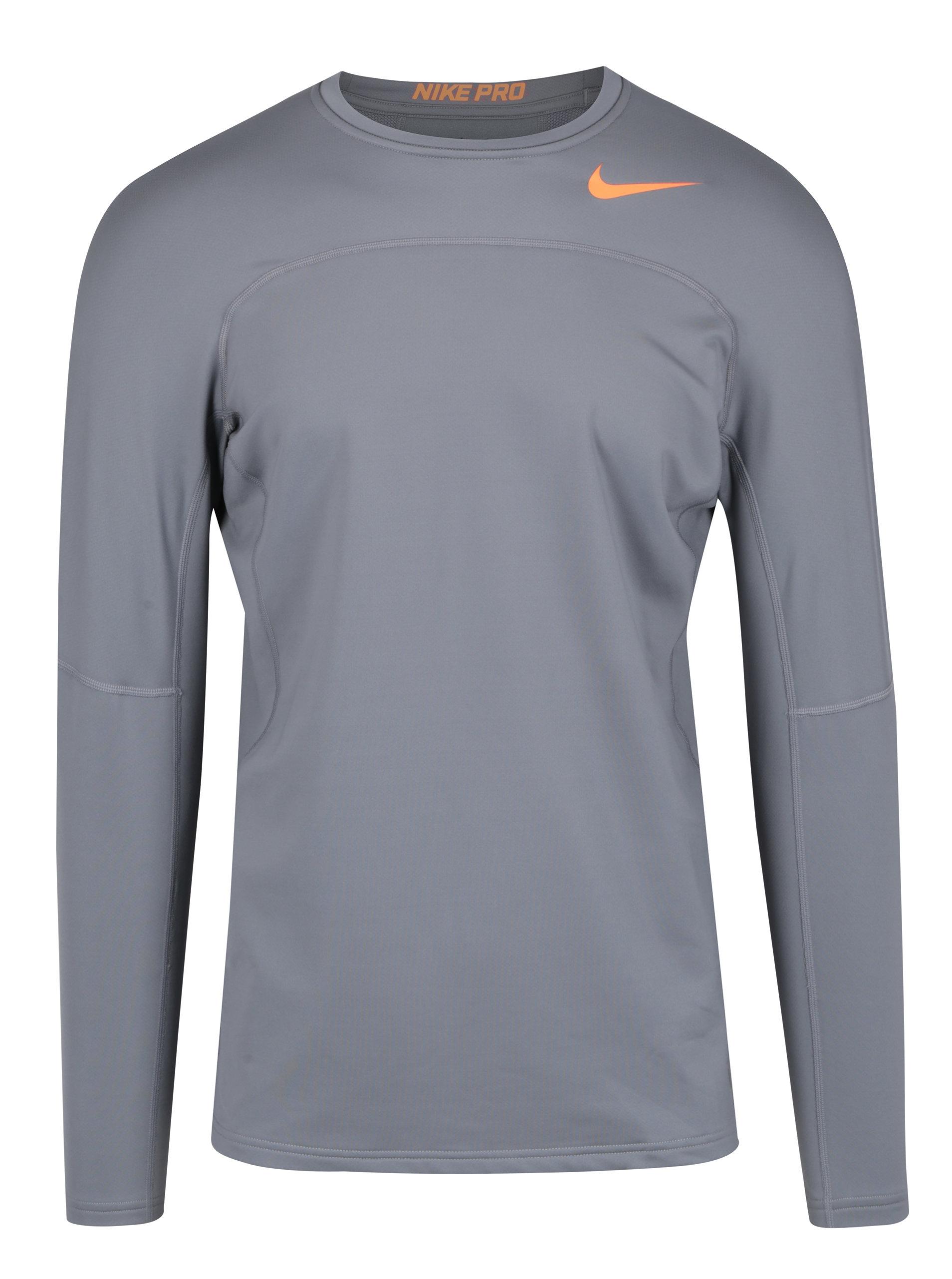 51efe05d3eb4 Sivé pánske funkčné tričko s dlhým rukávom Nike ...