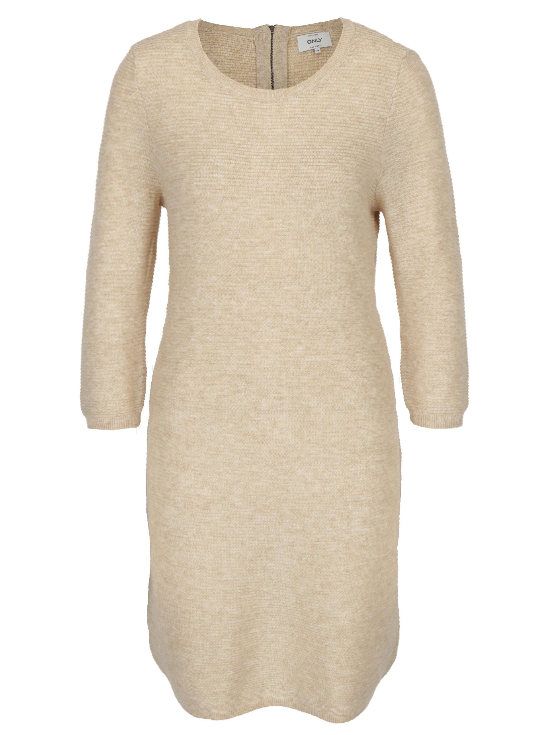 afb75d3707d3 Béžové svetrové šaty s 3 4 rukávem ONLY Filippa ...