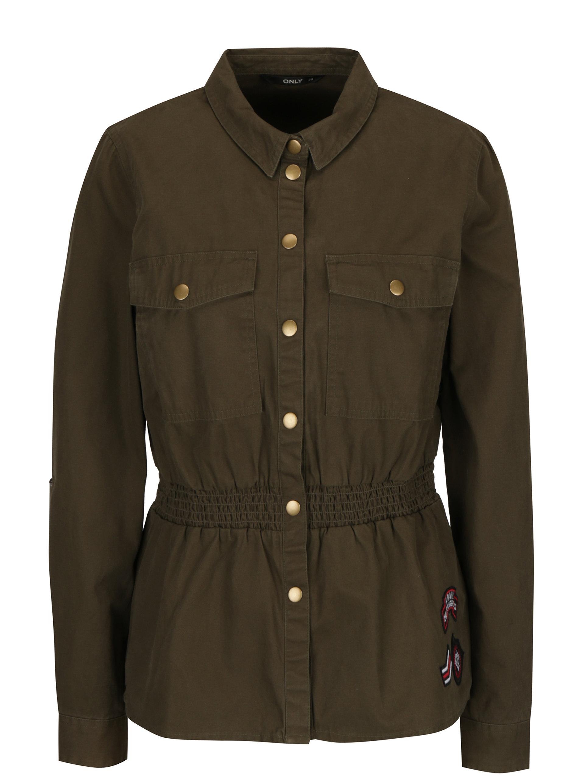 1a21910927 Khaki džínová lehká bunda s nášivkami ONLY Armor ...
