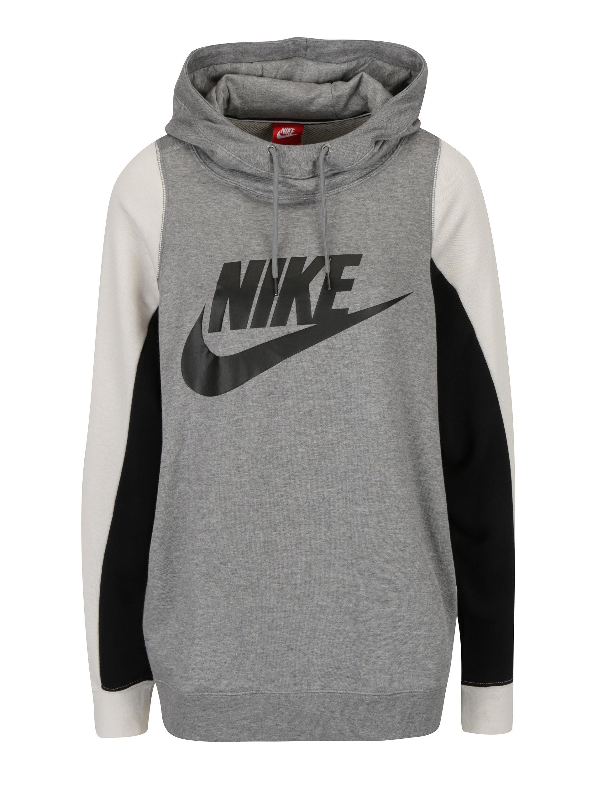 Sivá melírovaná dámska mikina s potlačou a kapucňou Nike ... 9d29cdd78b