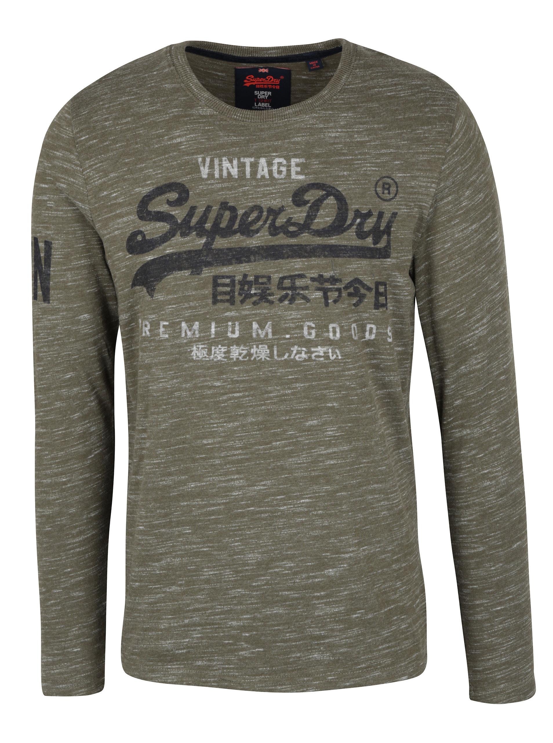 485b79695722 Kaki pánske melírované tričko s dlhým rukávom Superdry Premium ...