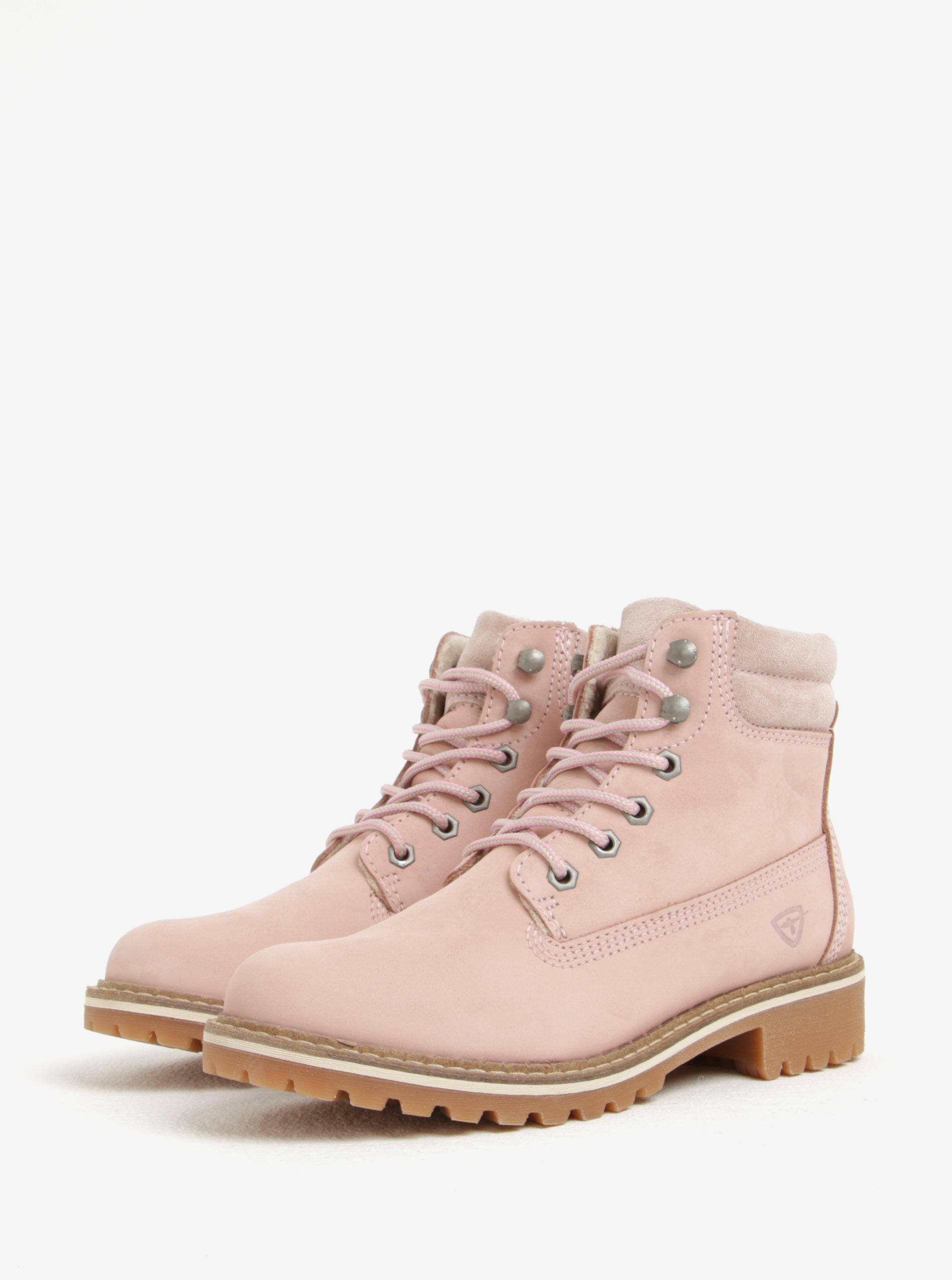 9600ec3a06de Svetloružové kožené členkové topánky Tamaris ...