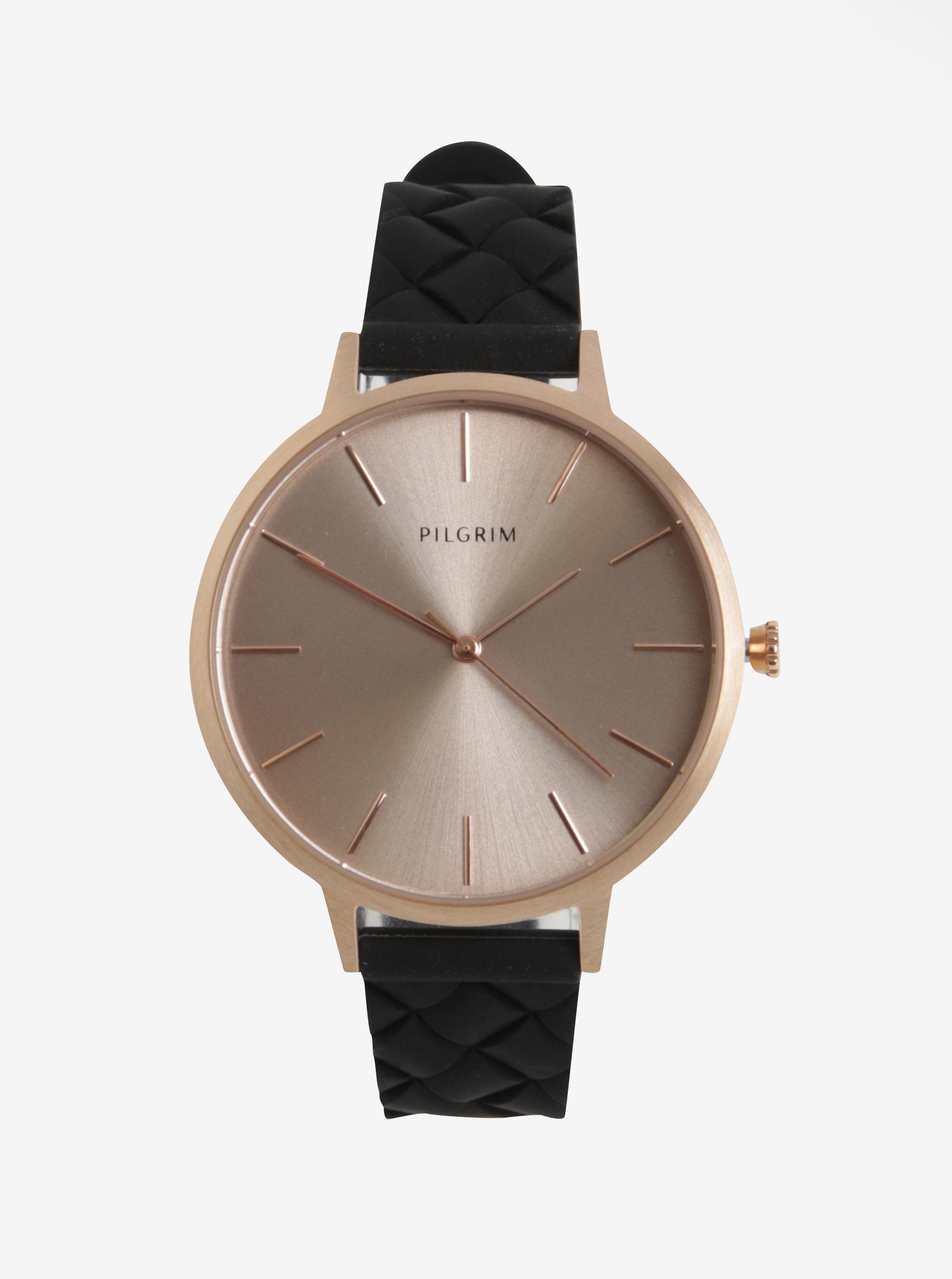 Dámské pozlacené hodinky v růžovozlaté barvě s černým silikonovým páskem  Pilgrim ... 7b9a9bd02d