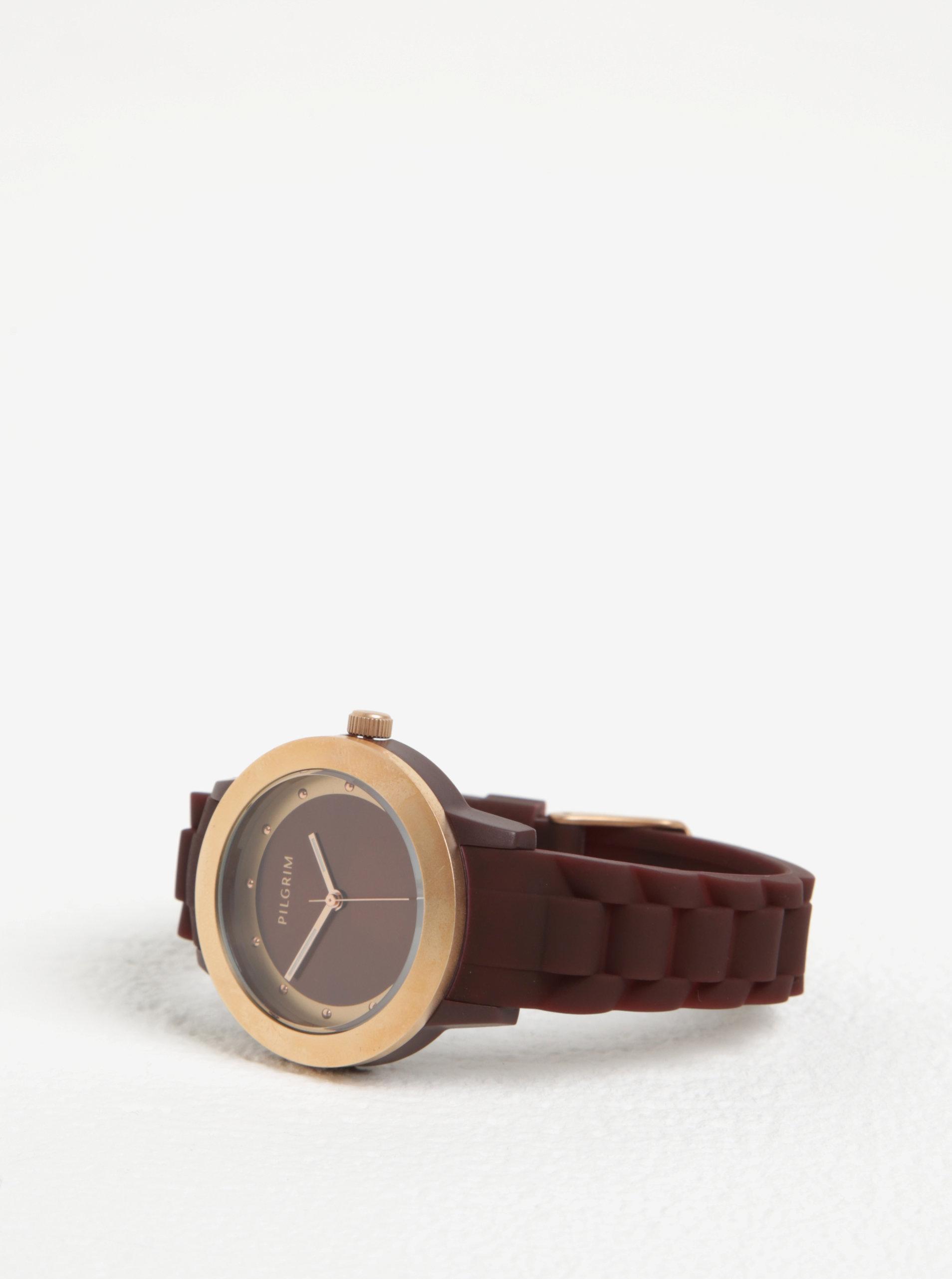 Dámské hodinky s vínovým silikonovým páskem Pilgrim Dámské hodinky s  vínovým silikonovým páskem Pilgrim ... f23d817e79