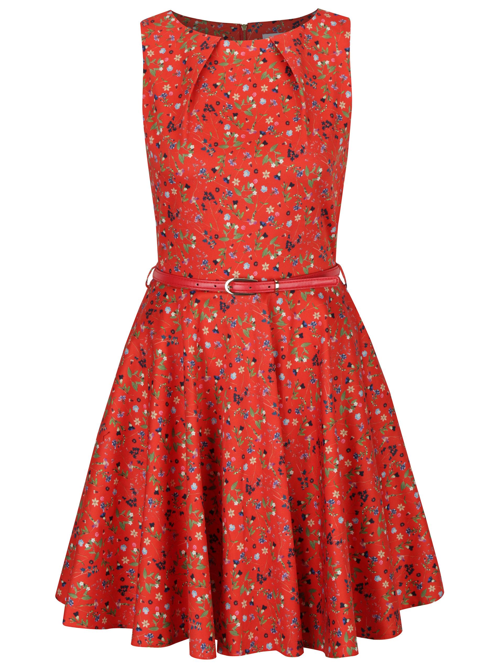 e7bce01a15c9 Červené květované šaty s páskem a kolovou sukní Closet ...