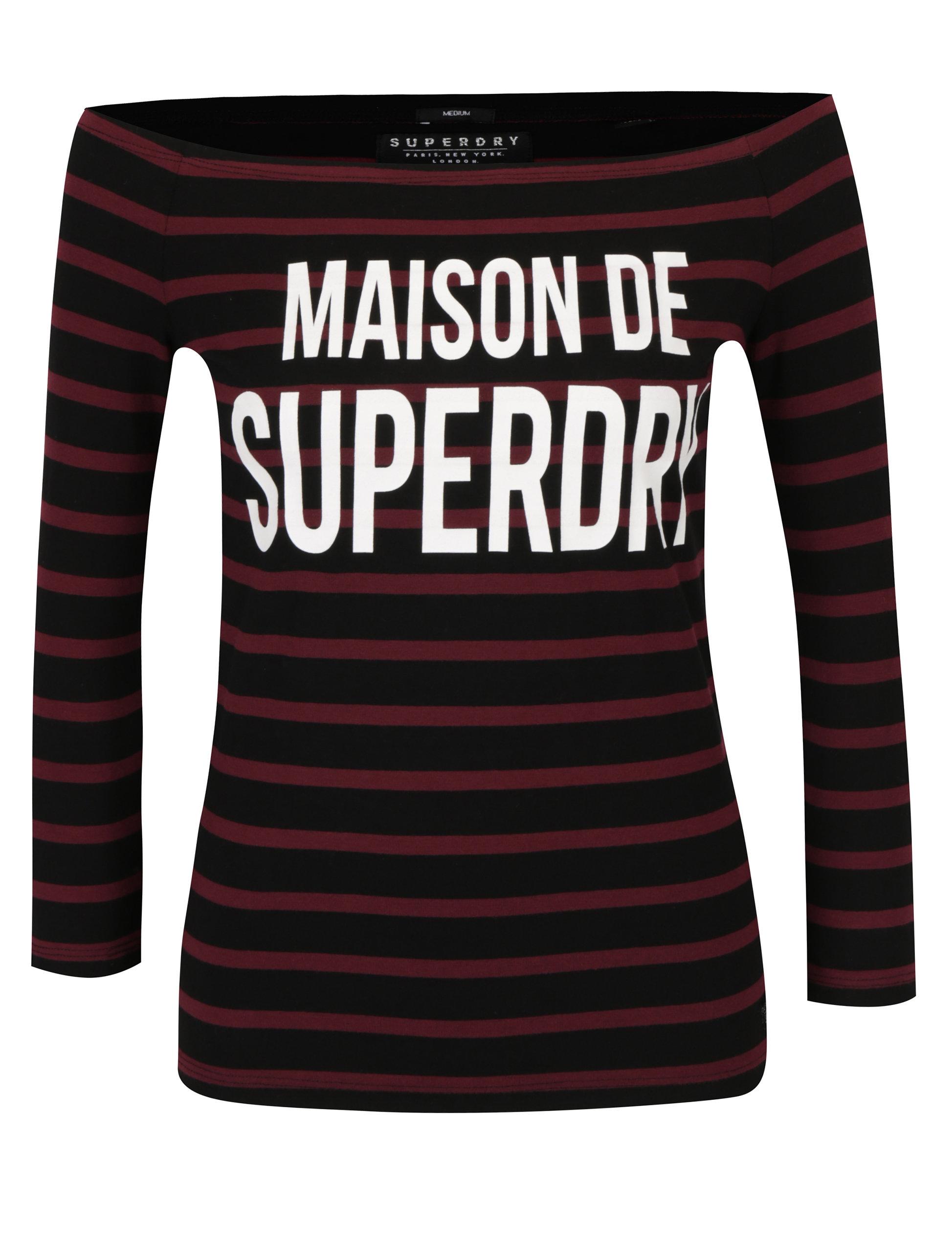 Vínovo-čierne dámske pruhované tričko s potlačou s lodičkovým výstrihom  Superdry Graphic ... 32d56246afa