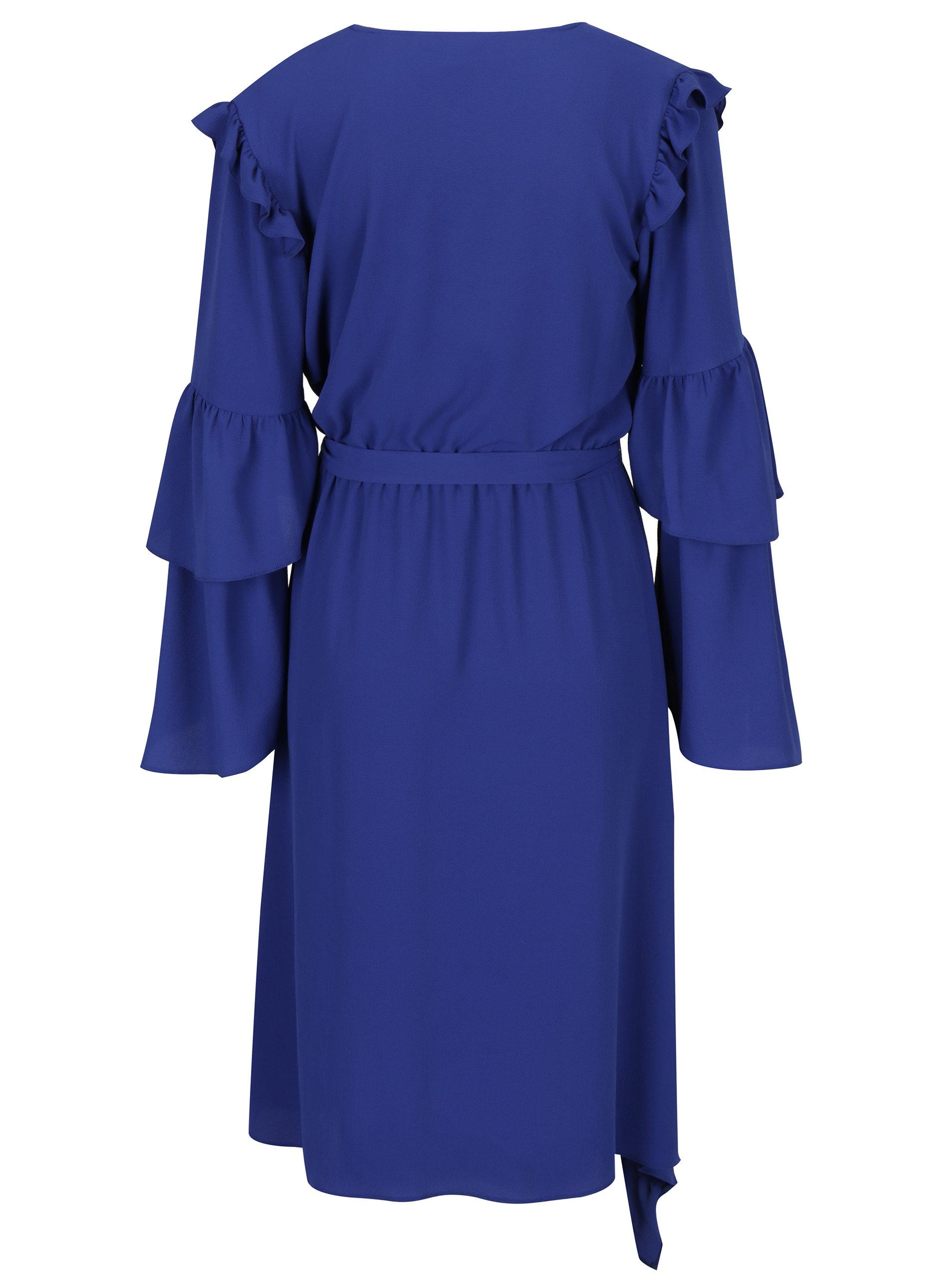 b290bb23eada Modré asymetrické šaty s prekladaným výstrihom a volánikmi Miss Selfridge  ...