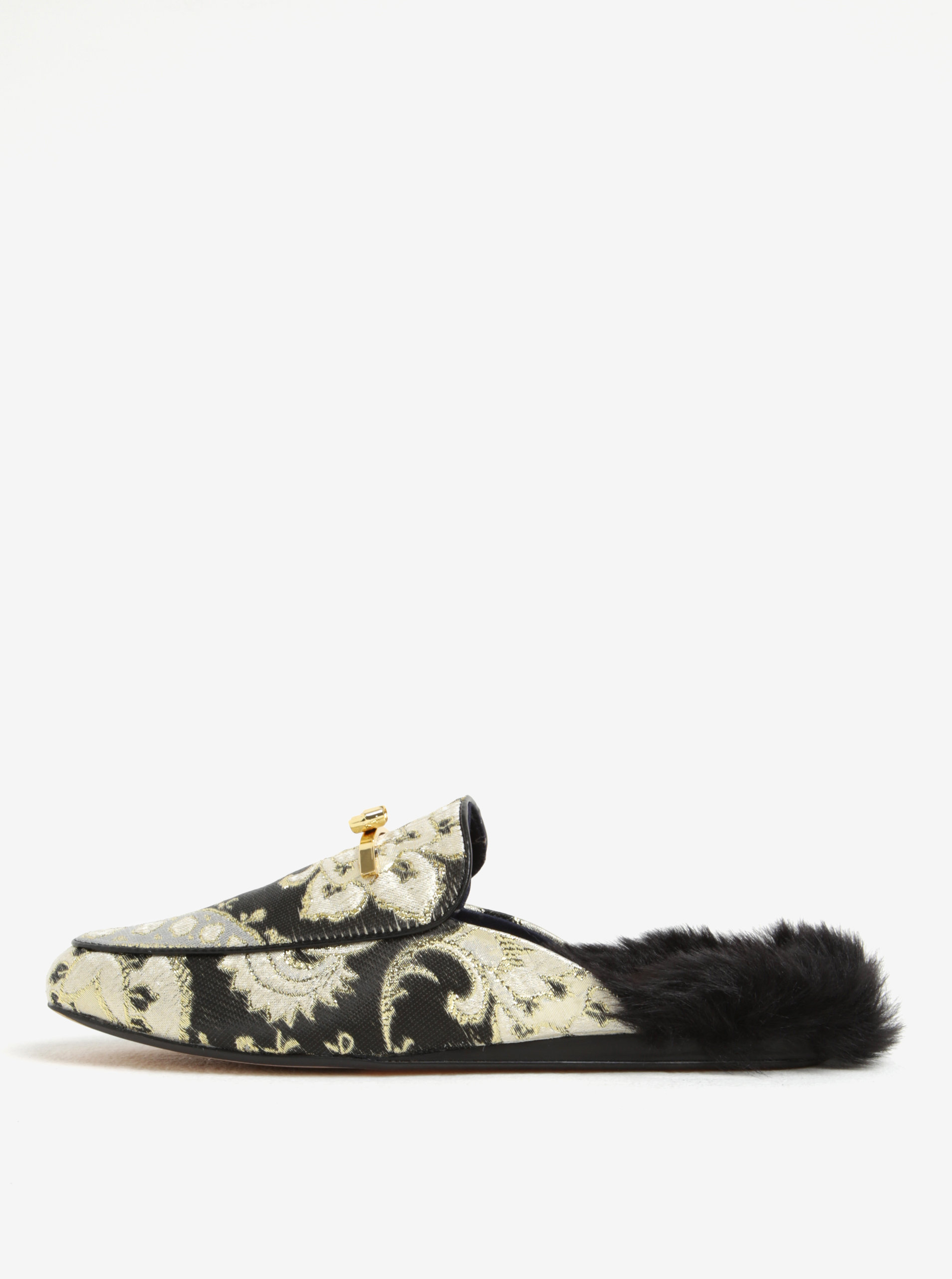89fb0360fb59 Čierno-zlaté dámske papuče s umelou kožušinou Ted Baker Kerriry ...