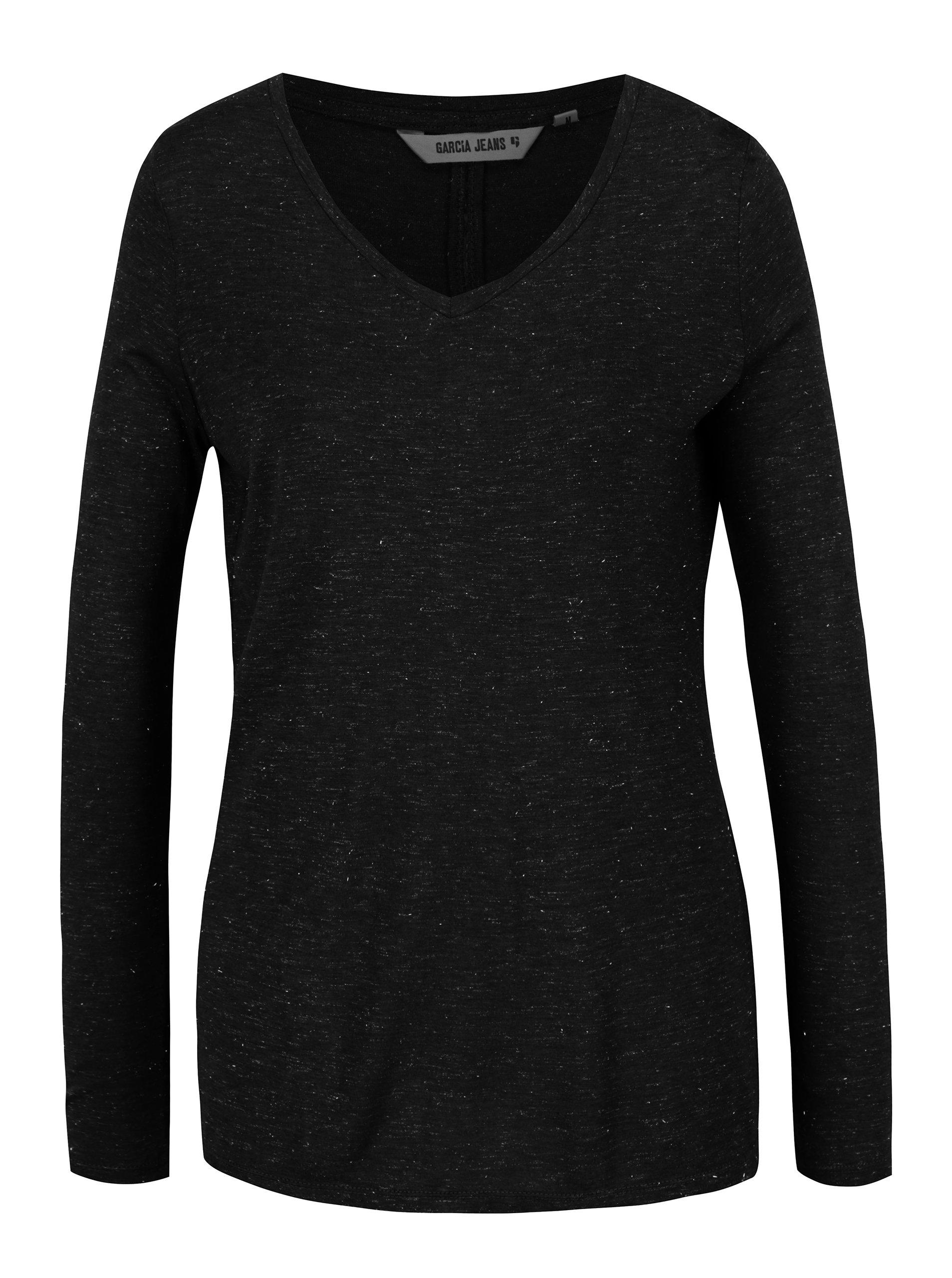 f52c2b2e9 Čierne dámske tričko s priesvitným detailom na chrbte Garcia Jeans ...