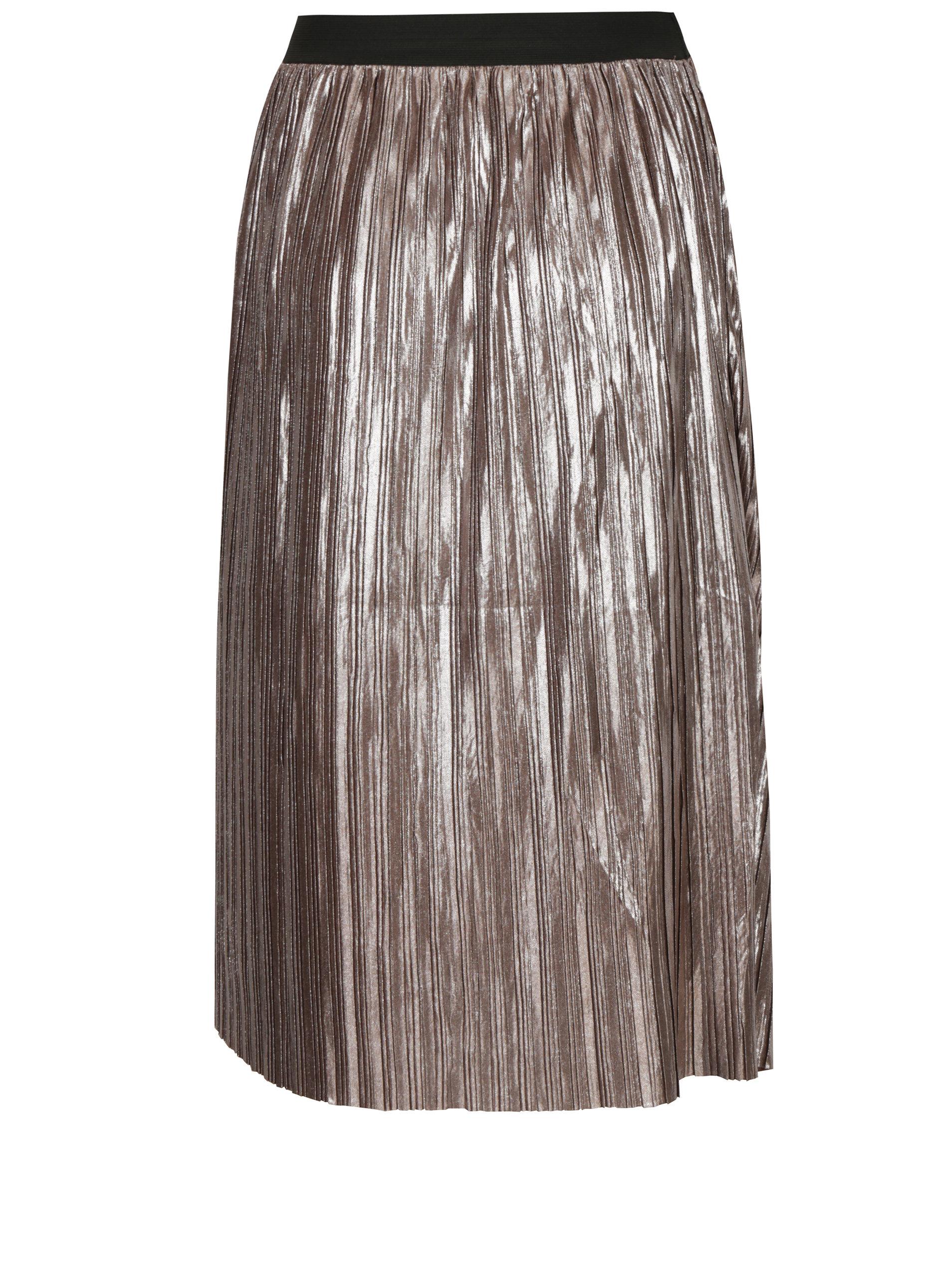 0279012d287b Světle hnědá plisovaná lesklá sukně s jemným vzorem Mela London ...