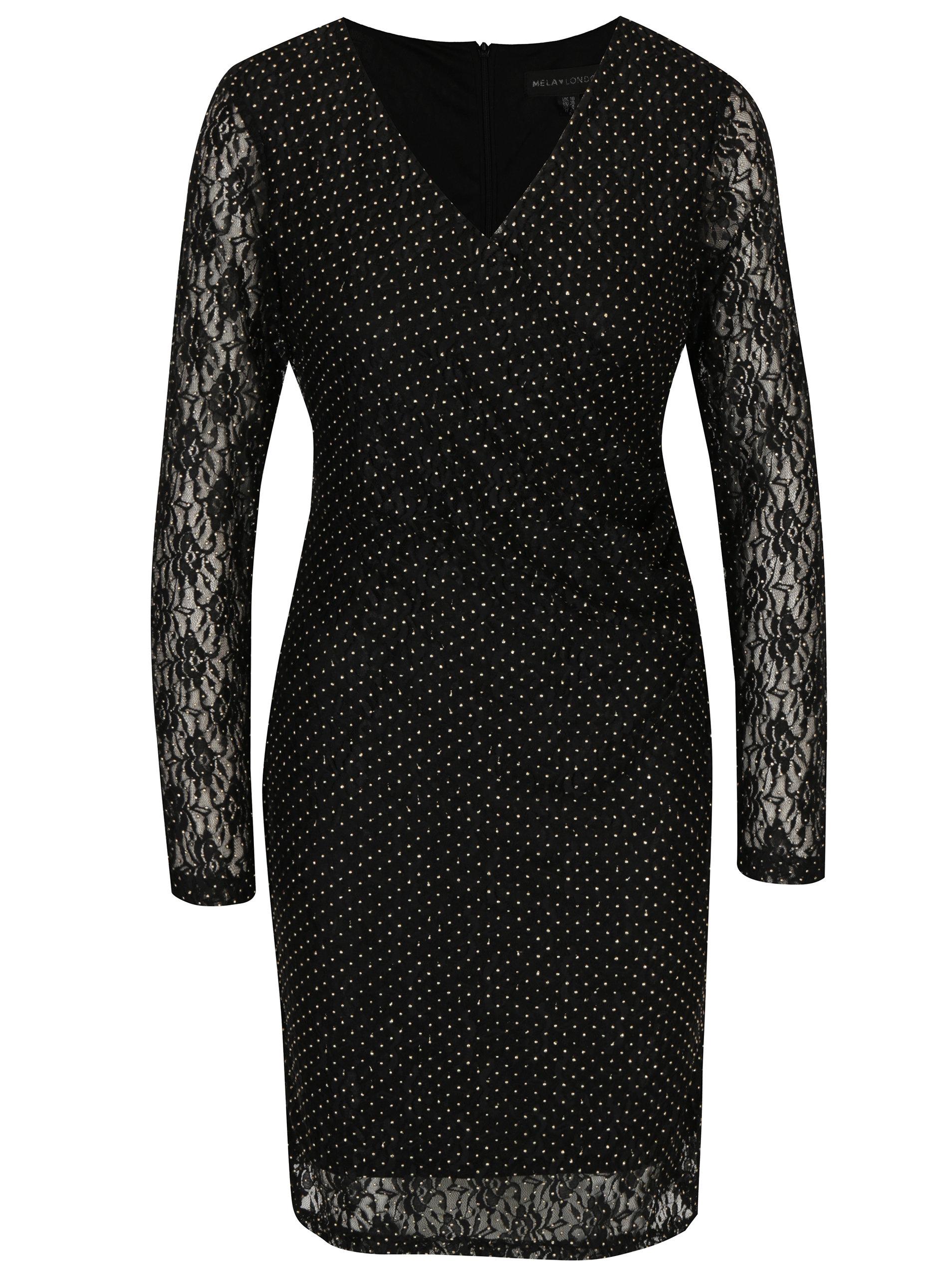 Čierne čipkované šaty s prekladaným výstrihom Mela London ... 97a82ea2f41