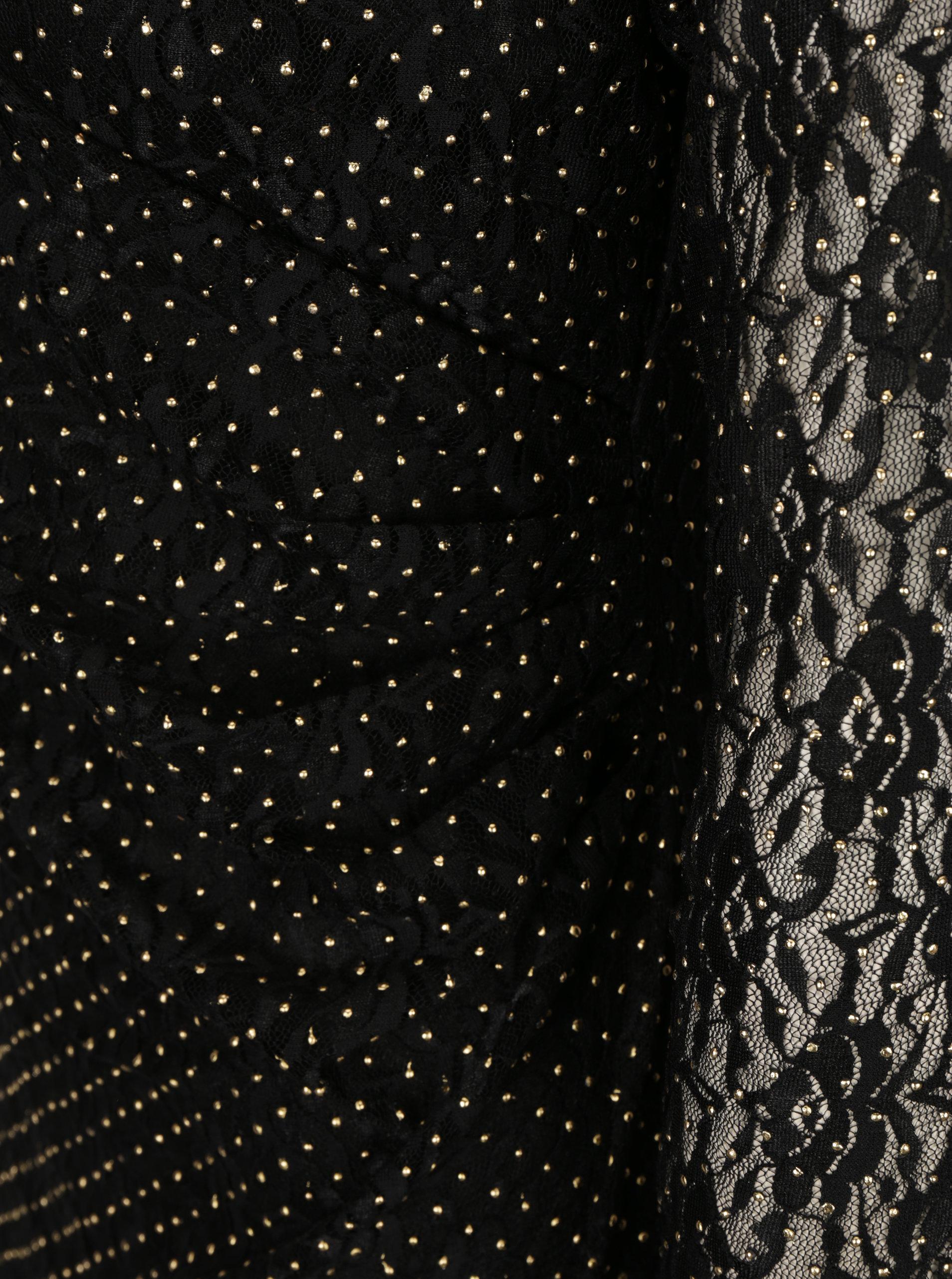 64ed1557ace6 Čierne čipkované šaty s prekladaným výstrihom Mela London ...