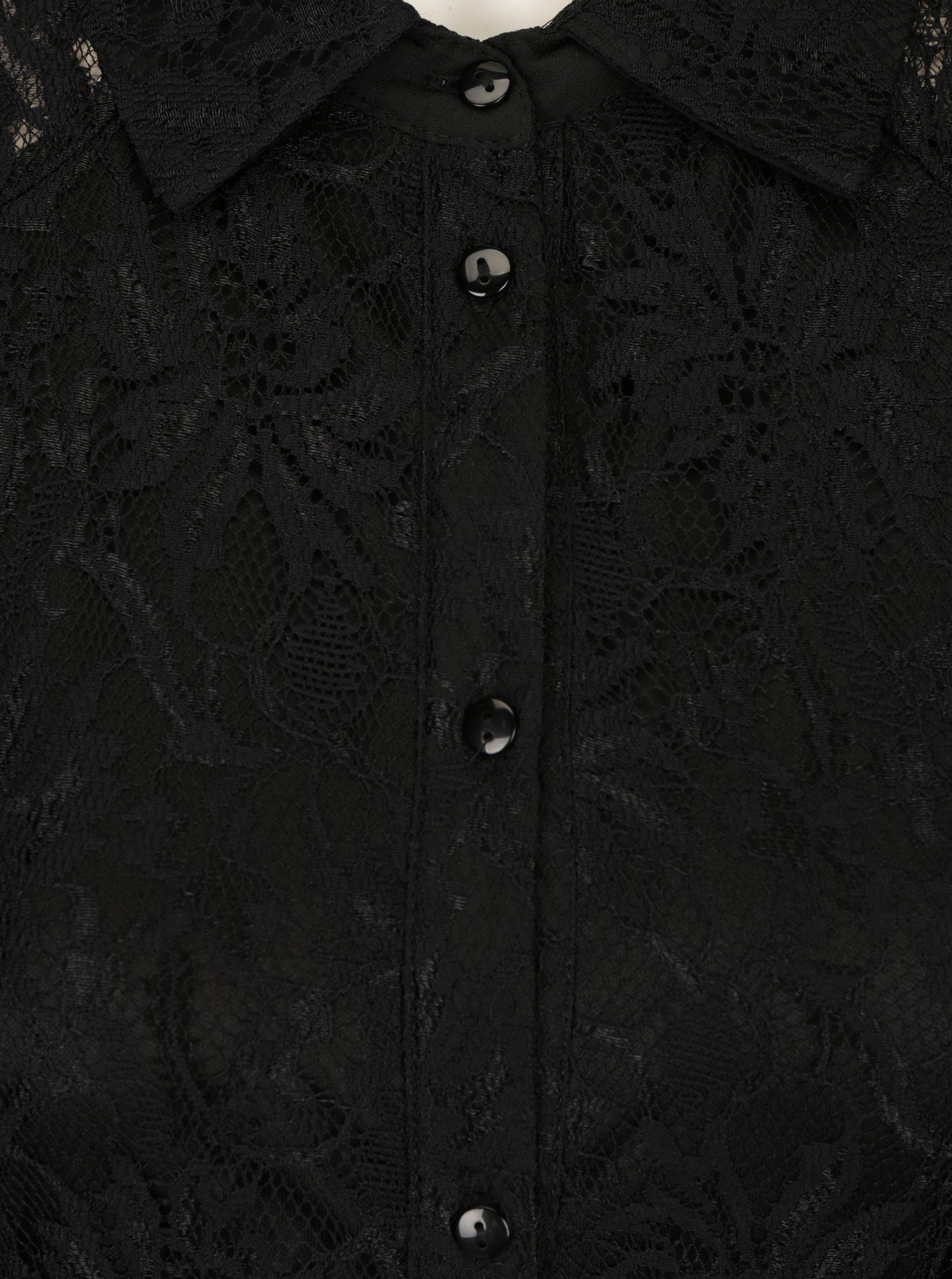 Čierne čipkované košeľové šaty so zaväzovaním v páse Mela London ... 5e9c818a68d