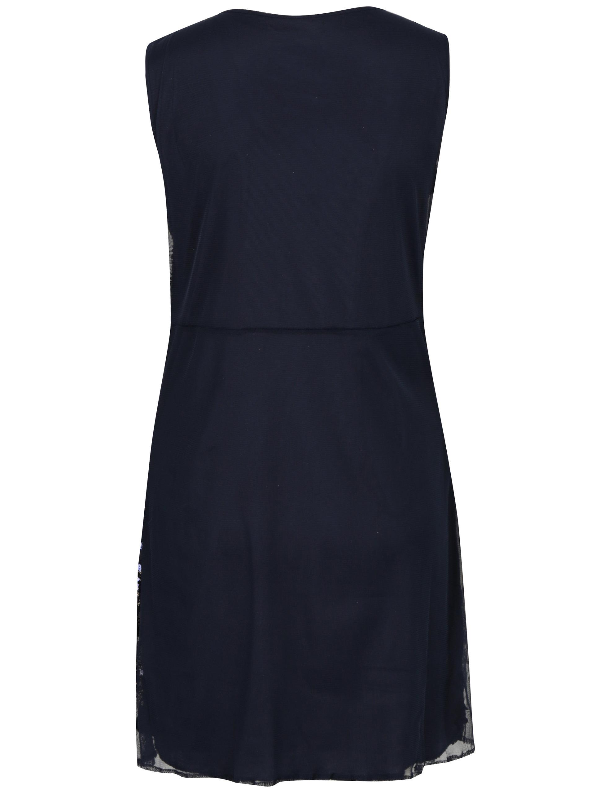 Tmavomodré šaty s flitrami Mela London ... fab528e9b49