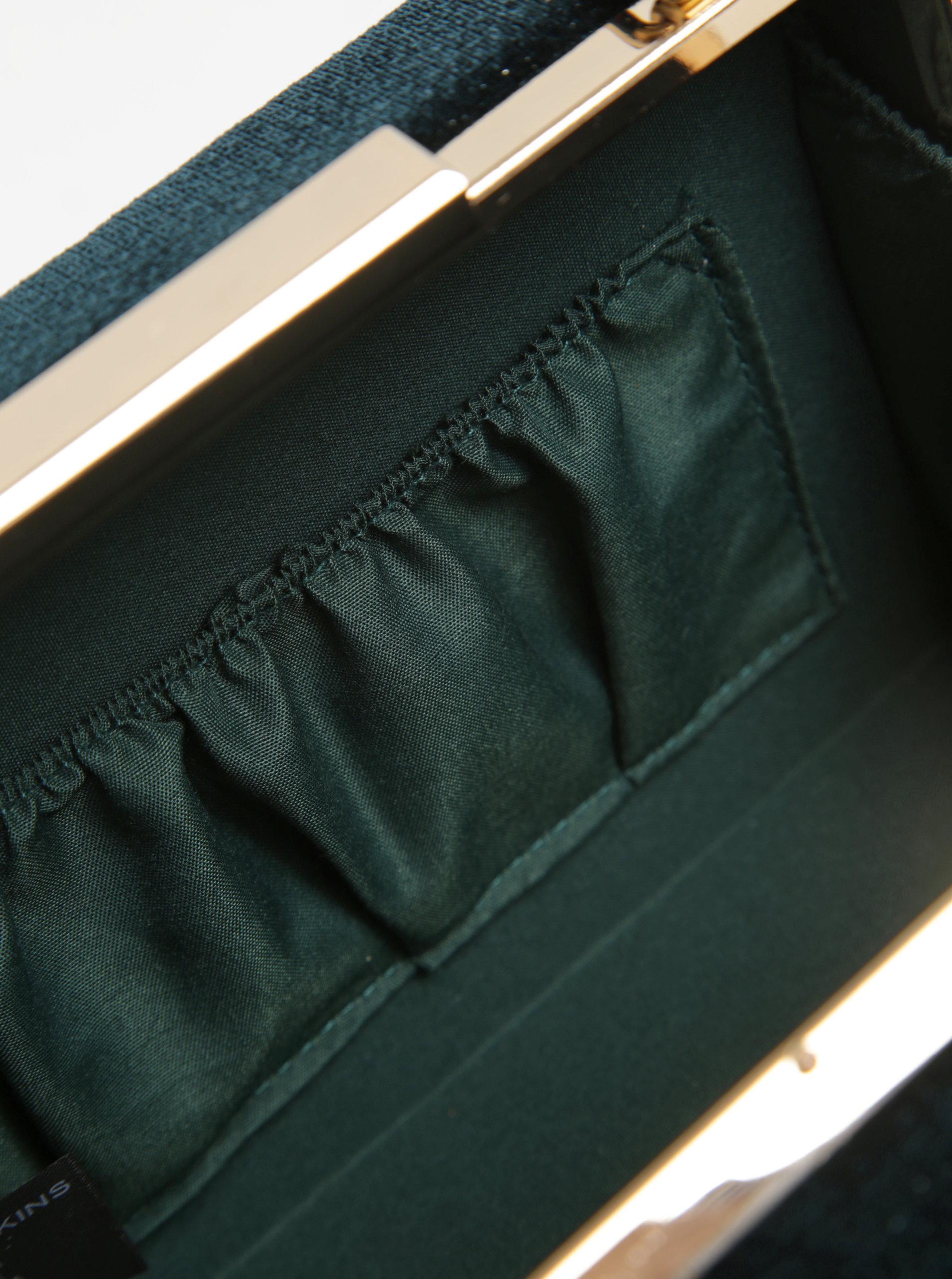 363b127de4 Tmavozelená zamatová listová kabelka s odnímateľným popruhom Dorothy  Perkins ...