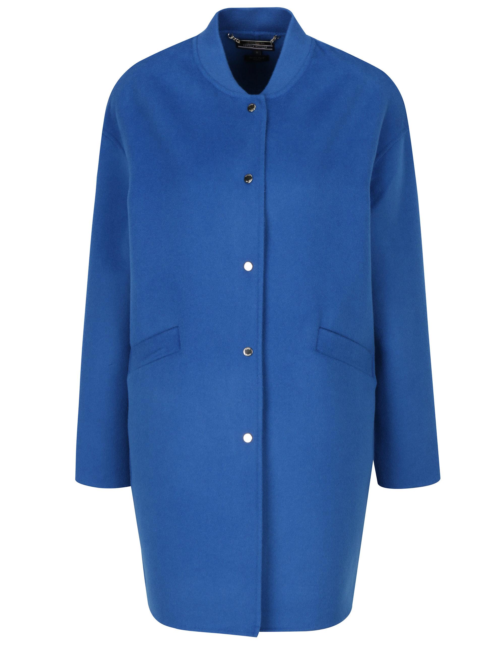 Modrý dámský lehký vlněný kabát Tommy Hilfiger ... 47baa9f4668