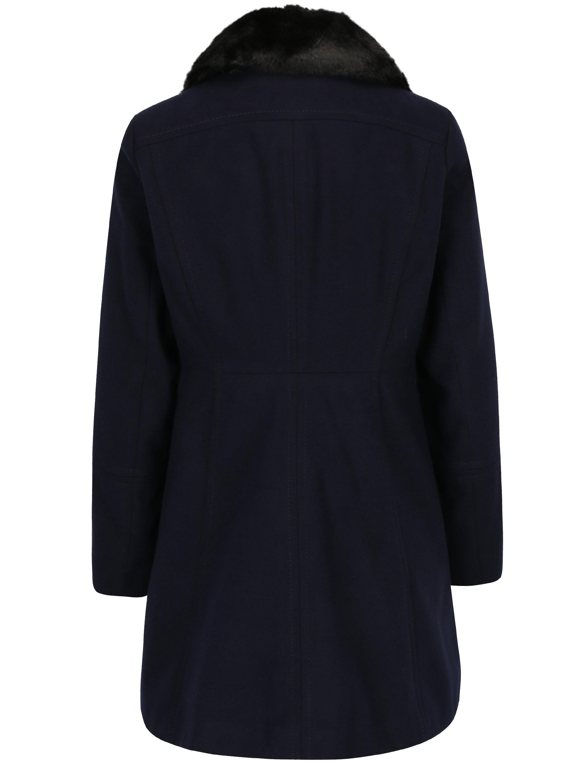 f49343eed Tmavomodrý kabát s umelou kožušinou Dorothy Perkins Petite | ZOOT.sk