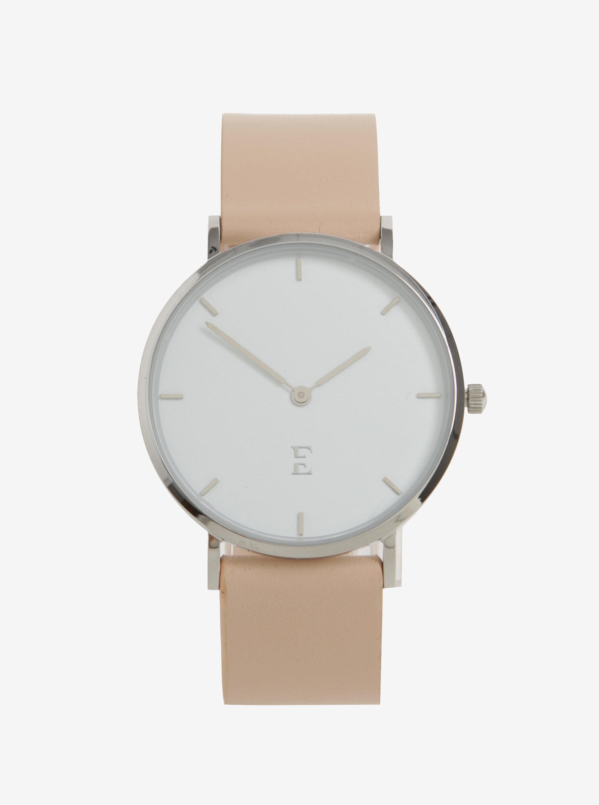 Dámske hodinky v striebornej farbe s koženým remienkom Esoria Alys ... 964056d6d73