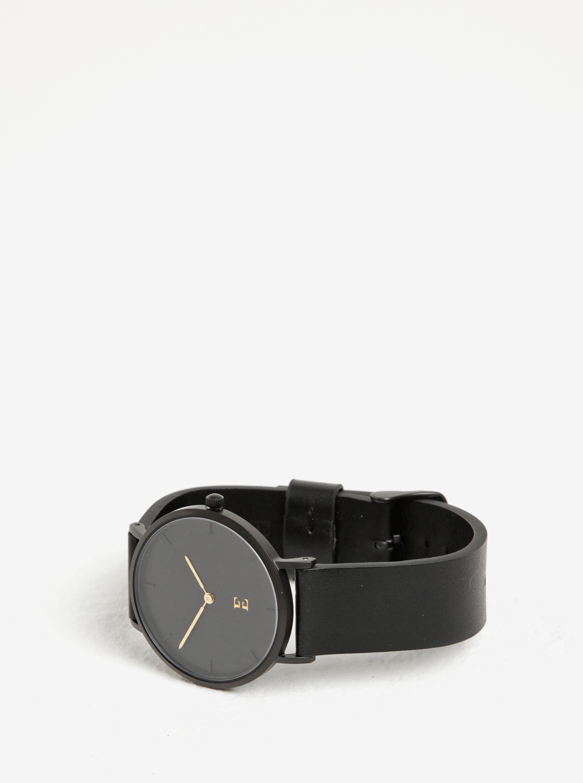 Čierne dámske hodinky s koženým remienkom Esoria Alys ... f112543b1c2