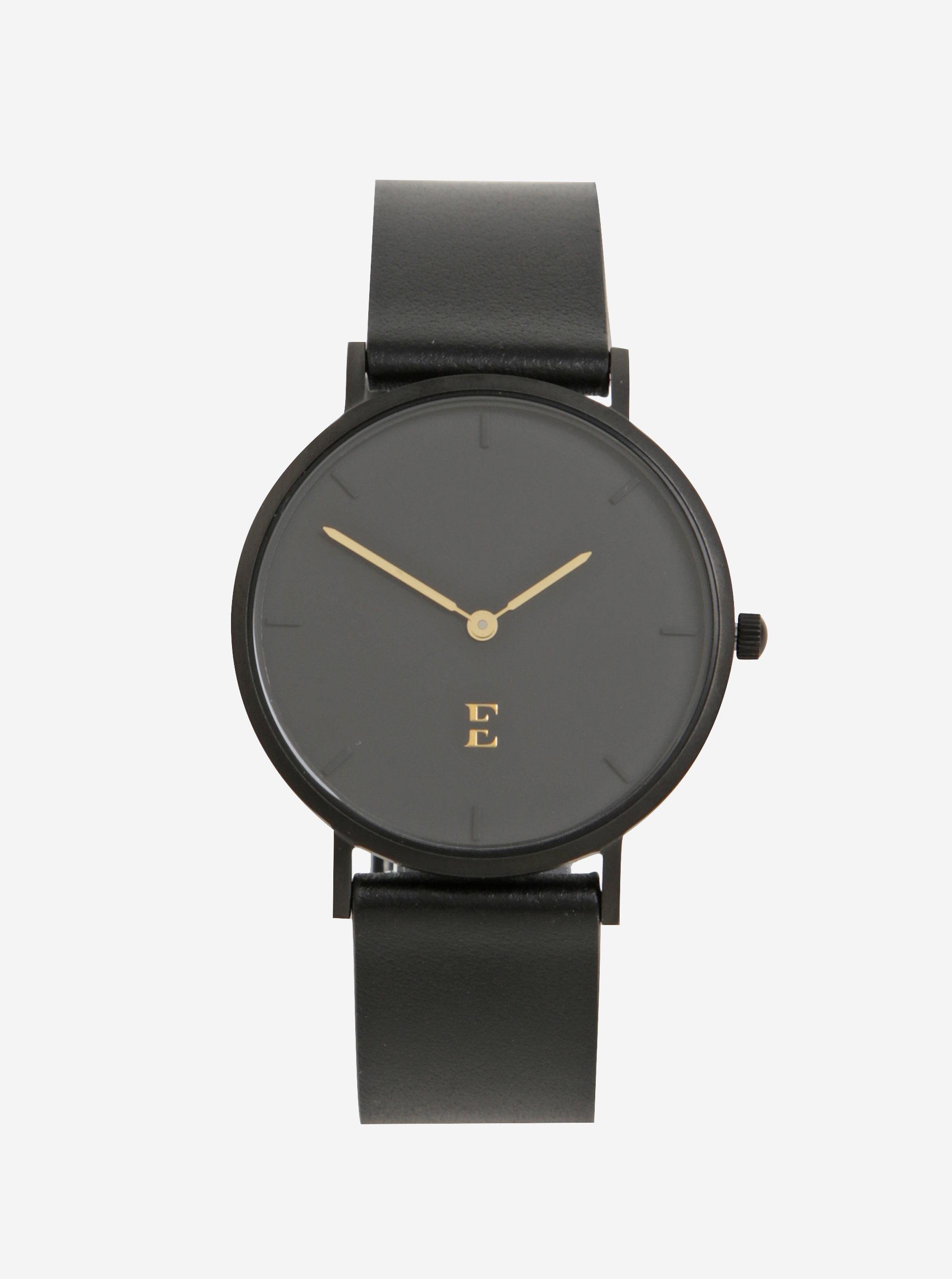 Černé dámské hodinky s koženým páskem Esoria Alys ... f2a416a0ff