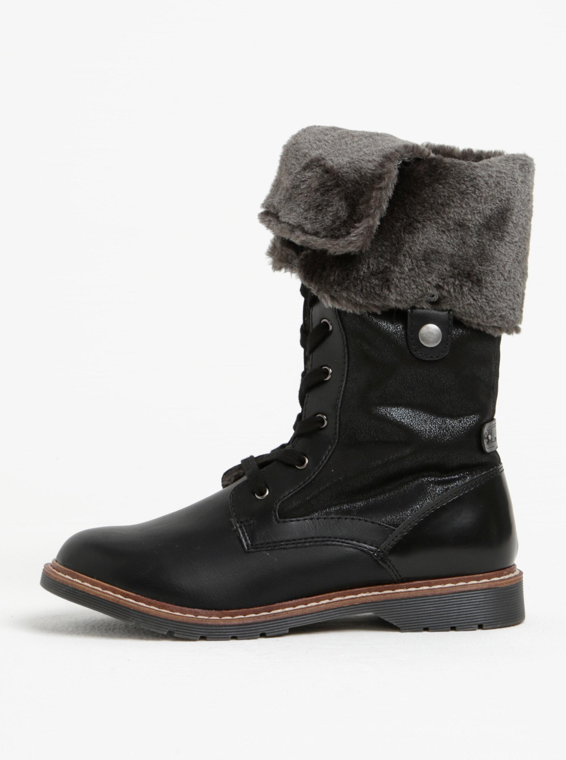 aefc2b5218 Čierne dámske zimné topánky s umelým kožúškom s.Oliver