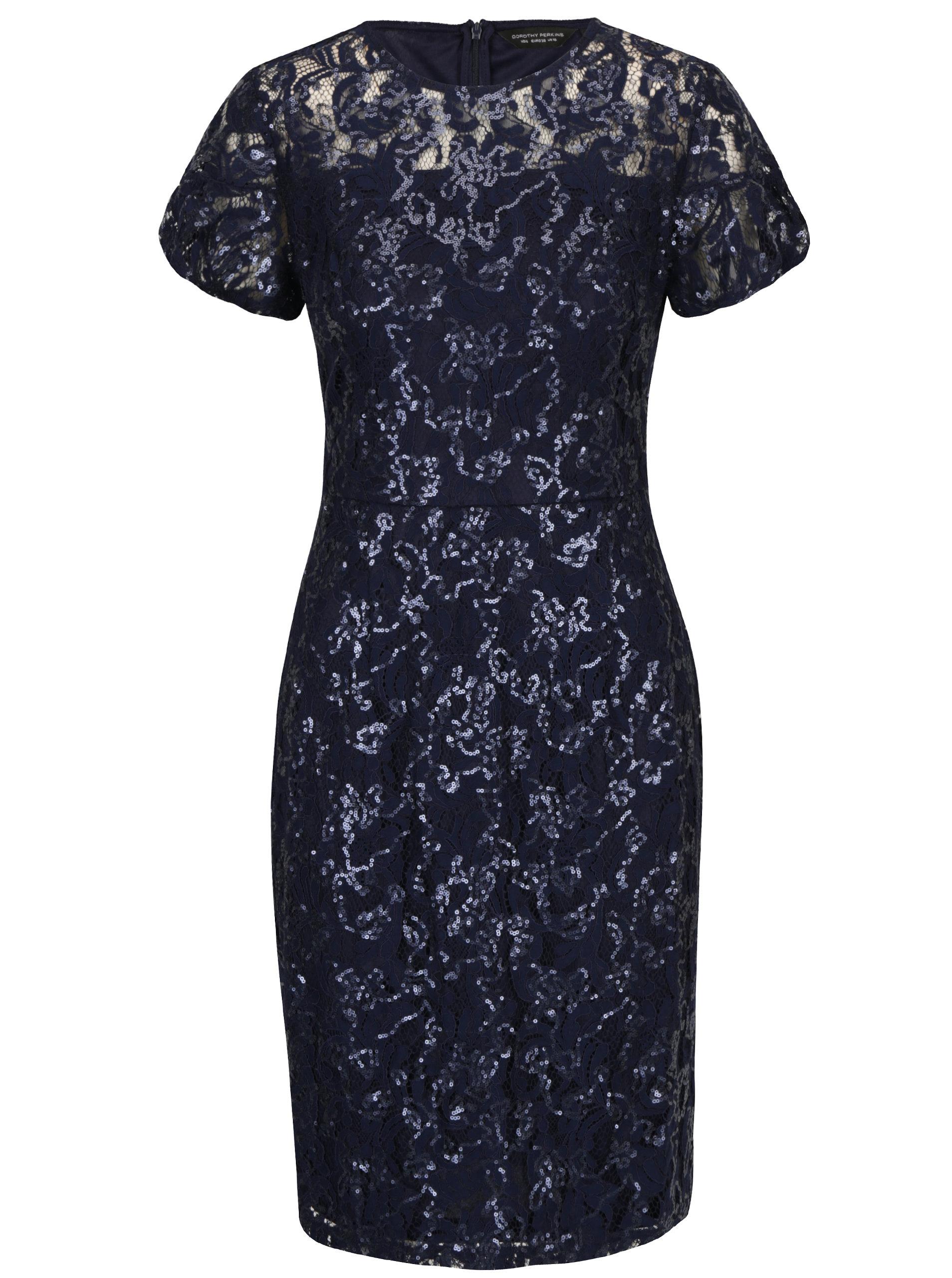 Tmavomodré čipkované puzdrové šaty s flitrami Dorothy Perkins ... dea1f6a1e04