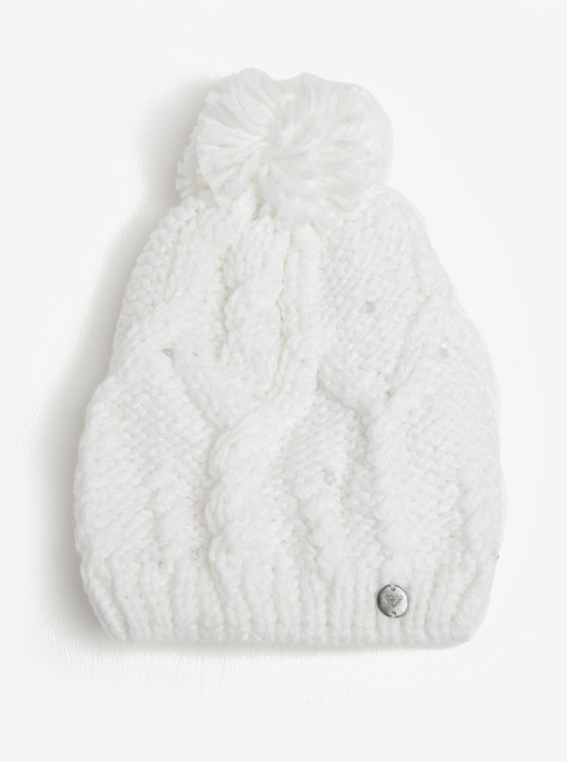 Bílá dámská pletená čepice s kamínky Roxy Shoot Star ... 3832d7189f