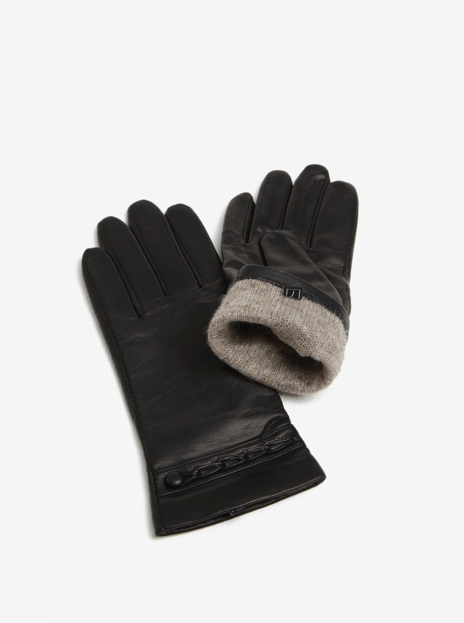 a5bac6b076cb Čierne dámske kožené rukavice so zdobením KARA ...