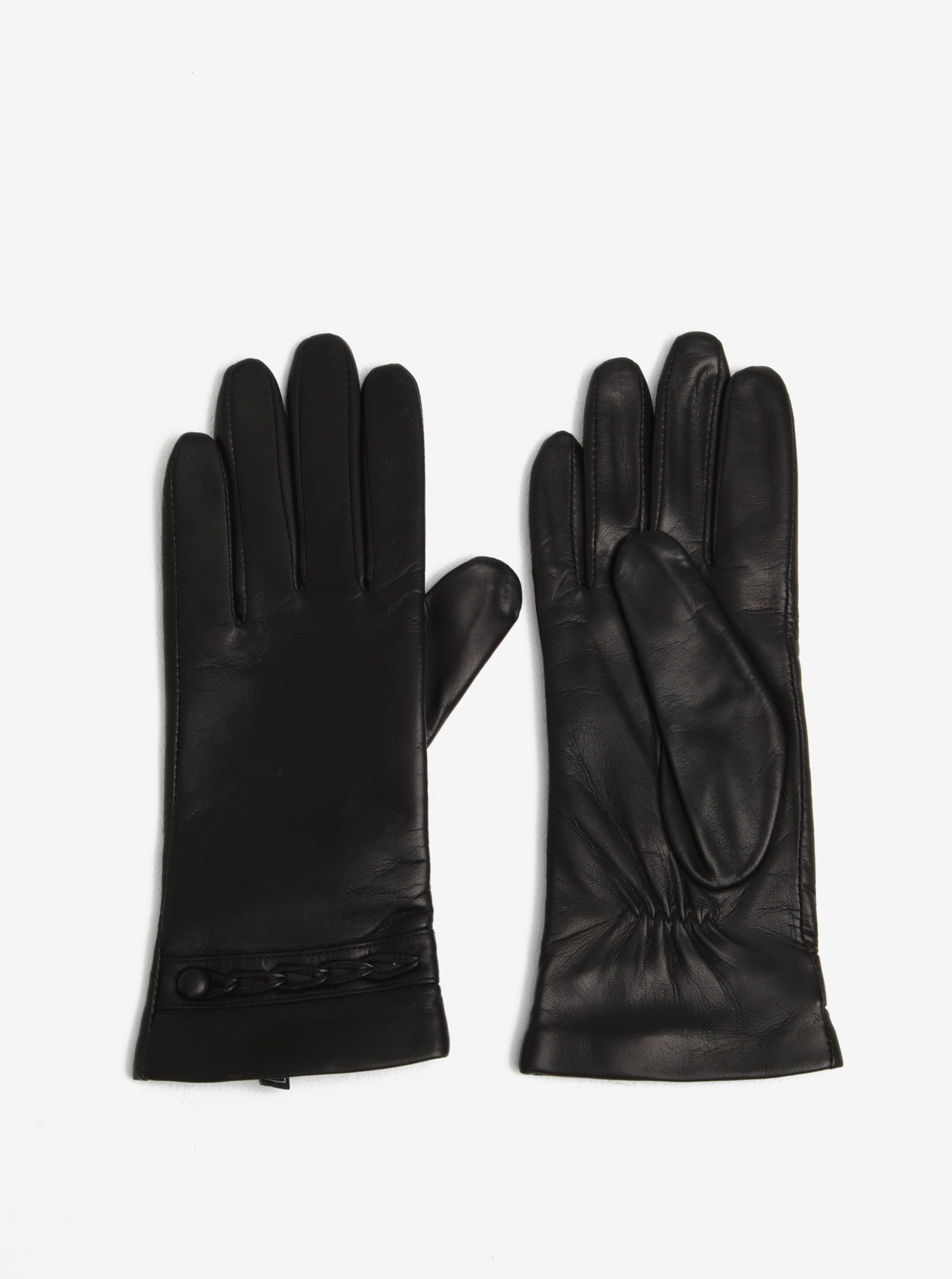 Černé dámské kožené rukavice se zdobením KARA ... 410f820f50
